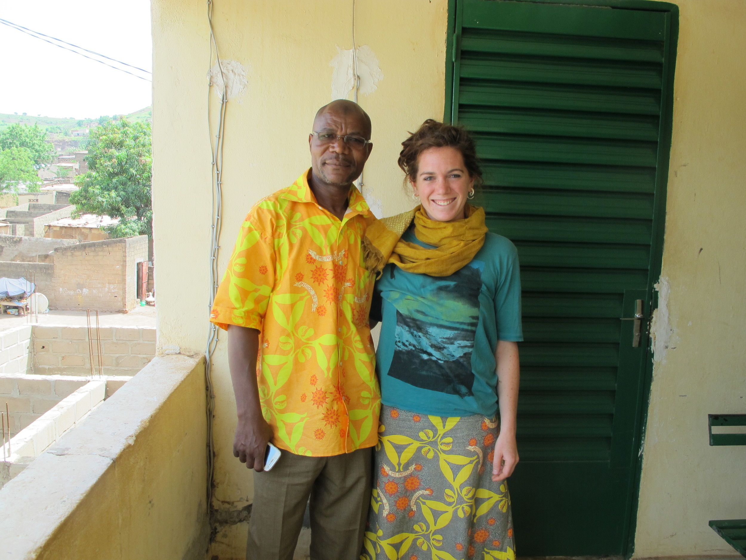 Eliza Squibb with Socrates, GAIA's Peer Educator at the Hope Center Clinic in Bamako, Mali