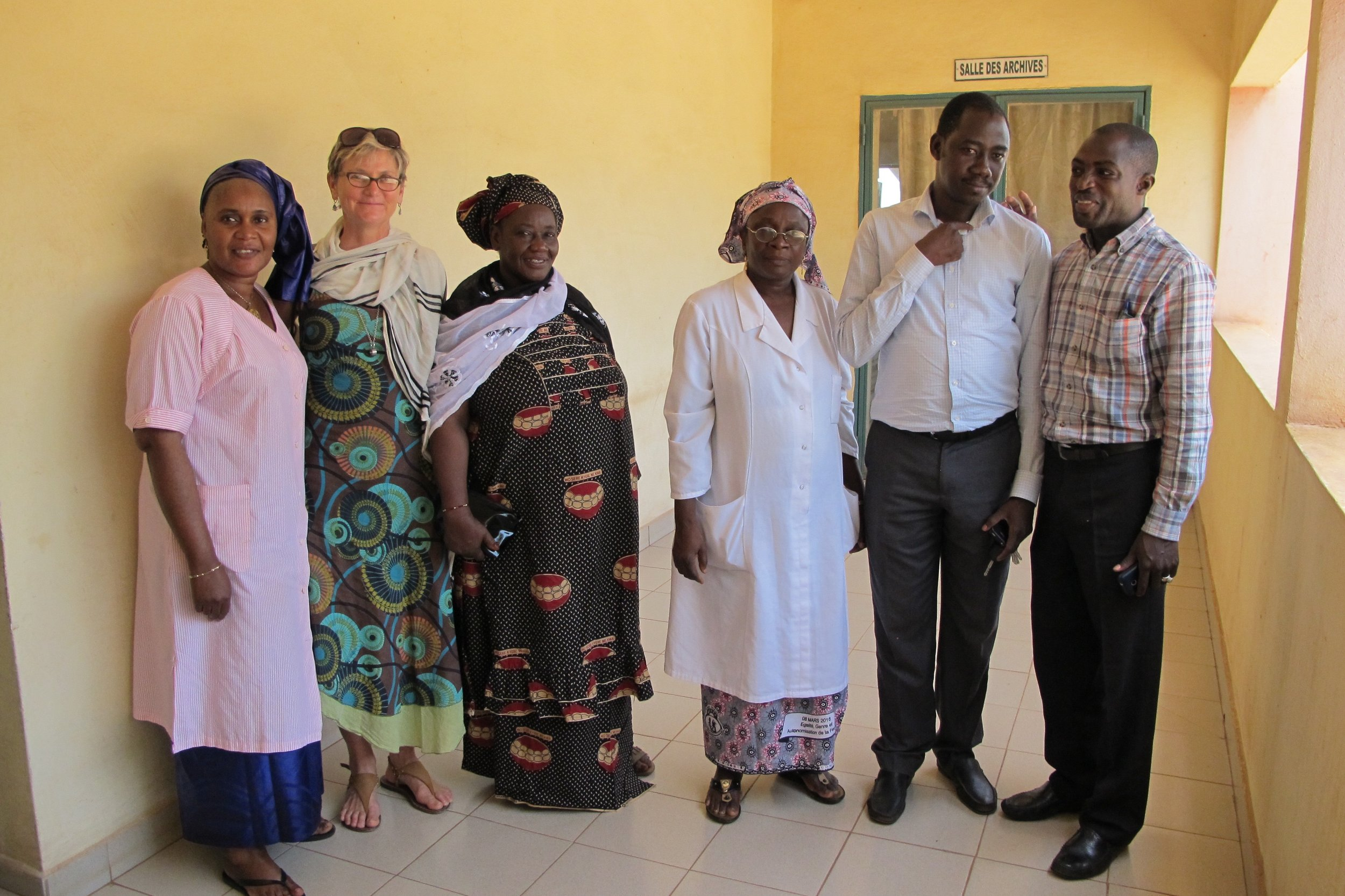 The picture above is from the Banconi clinic during our recent trip to Bamako: GAIA's founder, Dr. Annie is flanked by a midwife and a community health worker who were both part of GAIA's cervical cancer screening program. The Banconi physician director, Dr. Mariko is in the middle, with GAIA Director Dr. Karamoko and Kotou to the right.
