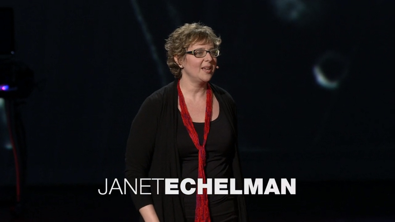Janet on her TED Talk. Photo taken from  this source  .