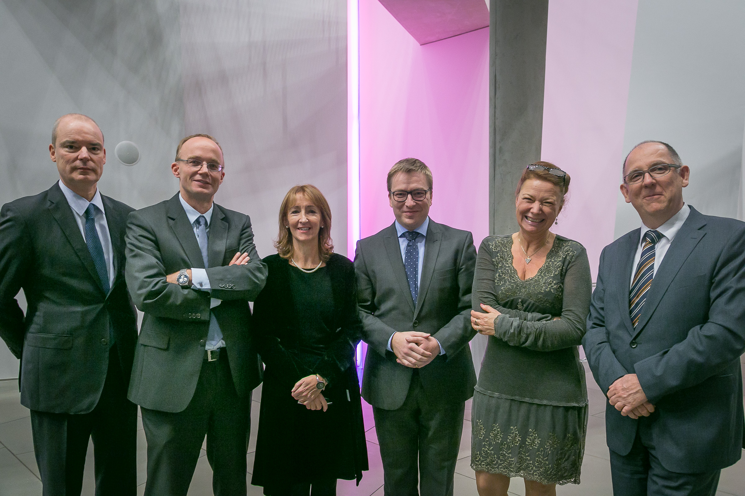 On welcome reception event. From left to right: Jean Junck (Luxembourg Chamber of Commerce), Stefan Braum (University of Luxembourg), Denise Fletcher (University of Luxembourg), Marc Hansen (Luxembourg Secretary of State for Higher Education), Helle Neergaard (ECSB), Gérard Eischen (Luxembourg Chamber of Commerce)