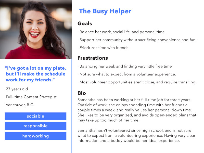 """The persona """"Busy Helper"""" was a combination of quotes from user interviews, and results from the survey."""