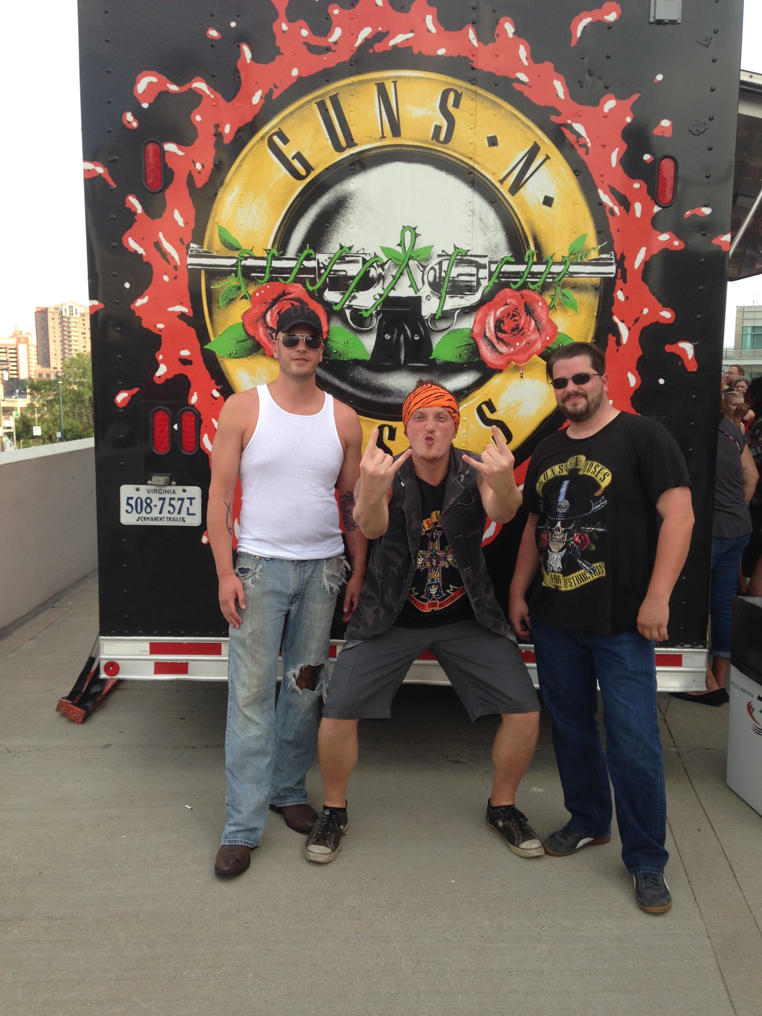 Myself (middle), with two of my best friends.  All diehard GNR fans, who had waited our whole lives for this night!