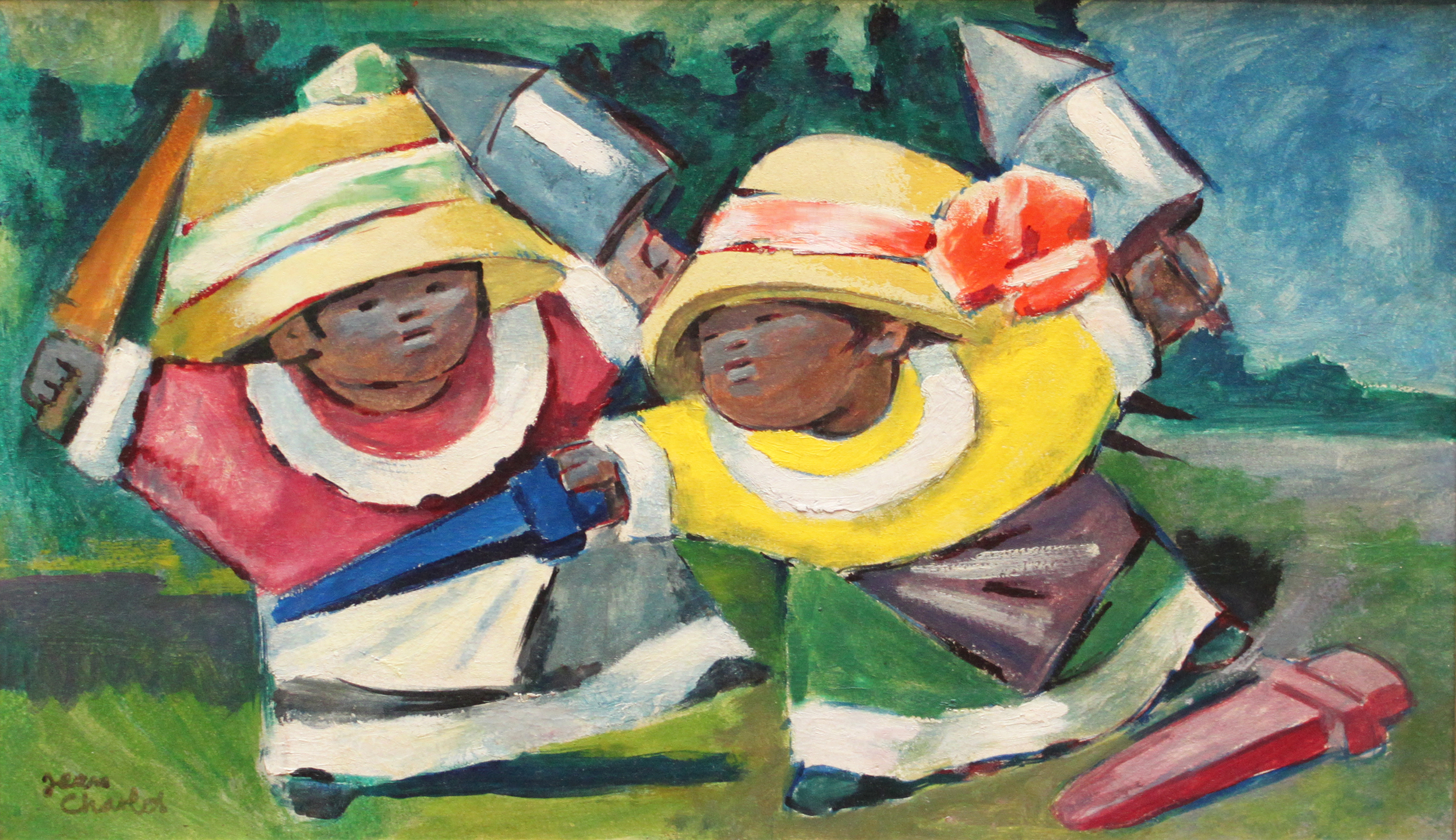 Jean Charlot (1898-1977)    Dazentes (Macinches) , 1932   oil on paper mounted on masonite  15 x 24 5/8 inches; 33.1 x 60.5 centimeters