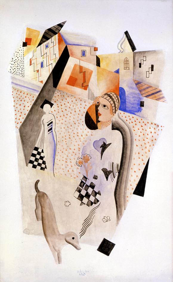Béla Kádár  (1887-1956)  Composition Two, c. 1925  watercolor on paper  21 1/4 x 14 inches; 54 x 35.6 centimeters