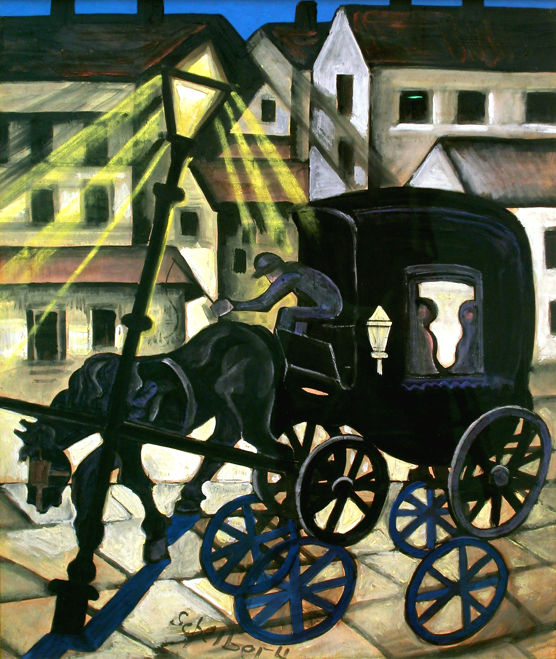 Hugó Scheiber  (1873-1950)   Carriage at Night , c. 1930  tempera and gouache on paper  27.5 x 22.5 inches; 69.9 x 182.9 centimeters