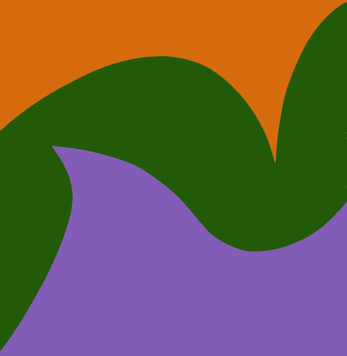 June Harwood:  Colorform (Orange, Green, Violet) , 1965, acrylic on canvas, 36 x 36 inches; 91.4 x 91.4 centimeters