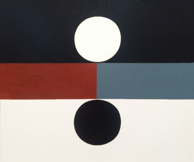 Frederick Hammersley (1919 - 2009)    Both , 1959  oil on linen  20 x 24 inches; 50.8 x 61 centimeters