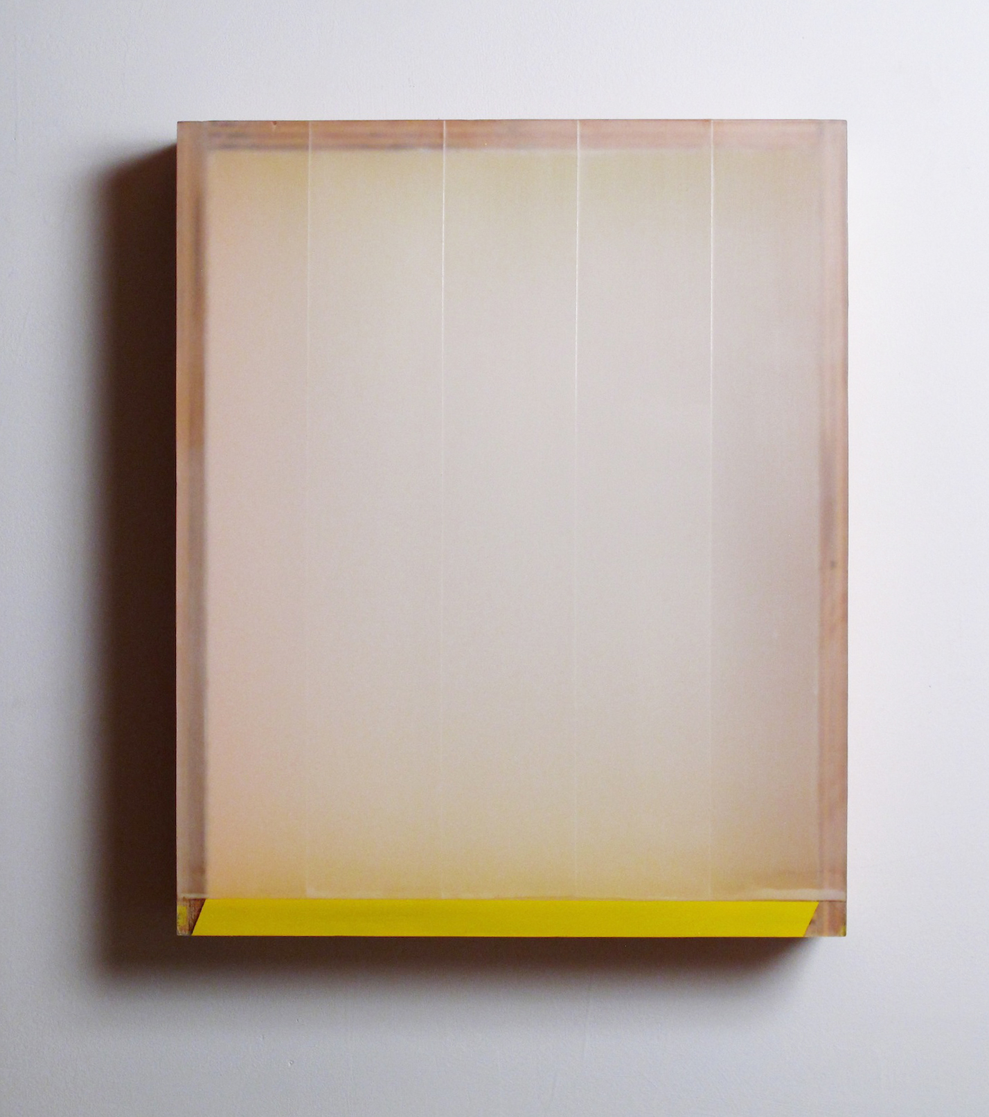 Light Leak  plexiglas, birch, pigment, tape, beeswax, enamel 19.5 x 15.75 x 3.75 inches; 49.5 x 40 x 9.5 centimeters