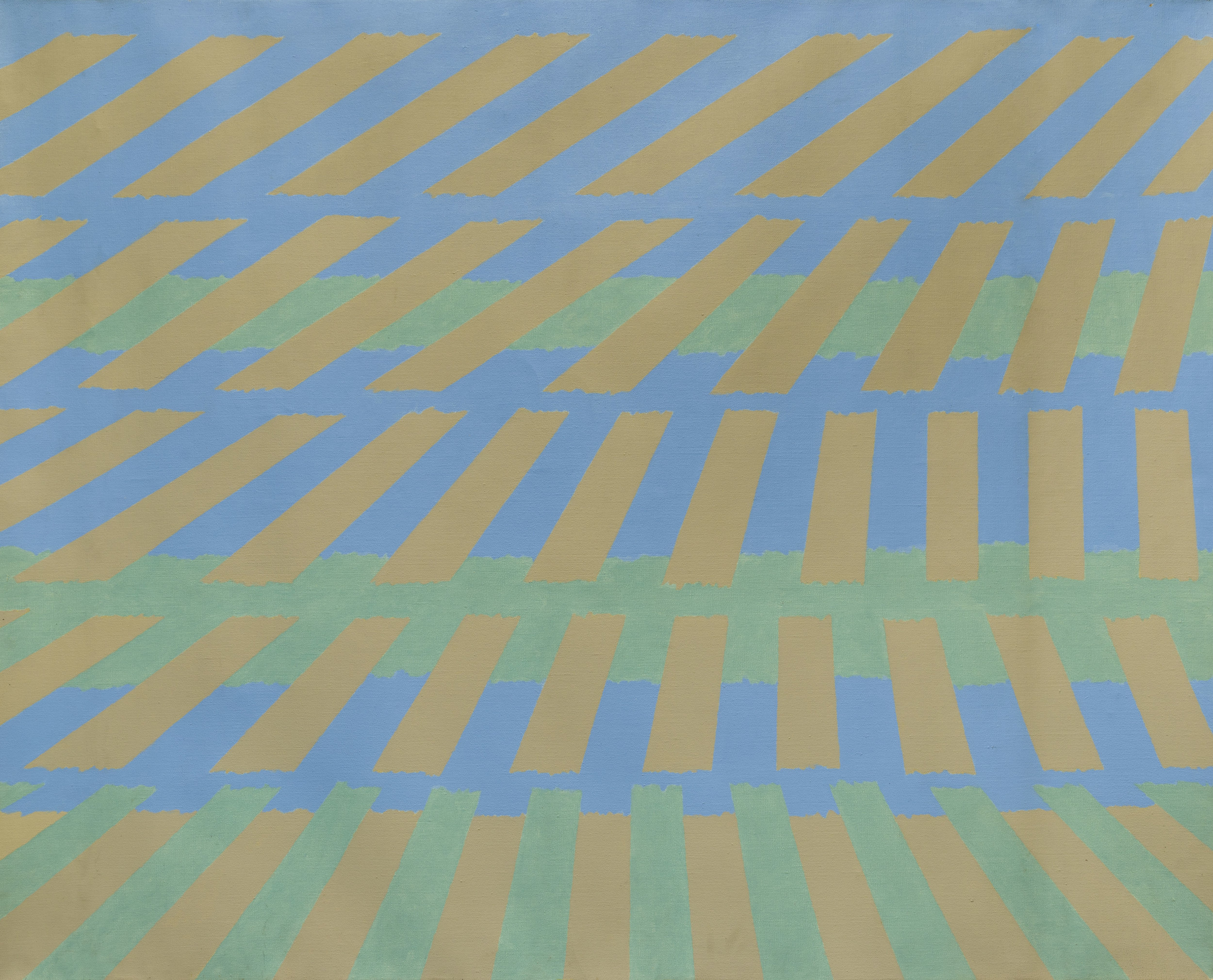 Michael Kidner (1917–2009)   Blue, Green and Grey , 1963 oil on canvas  40 x 49 3/4 in. (101.6 x 126.4 cm) LSFA# 14067