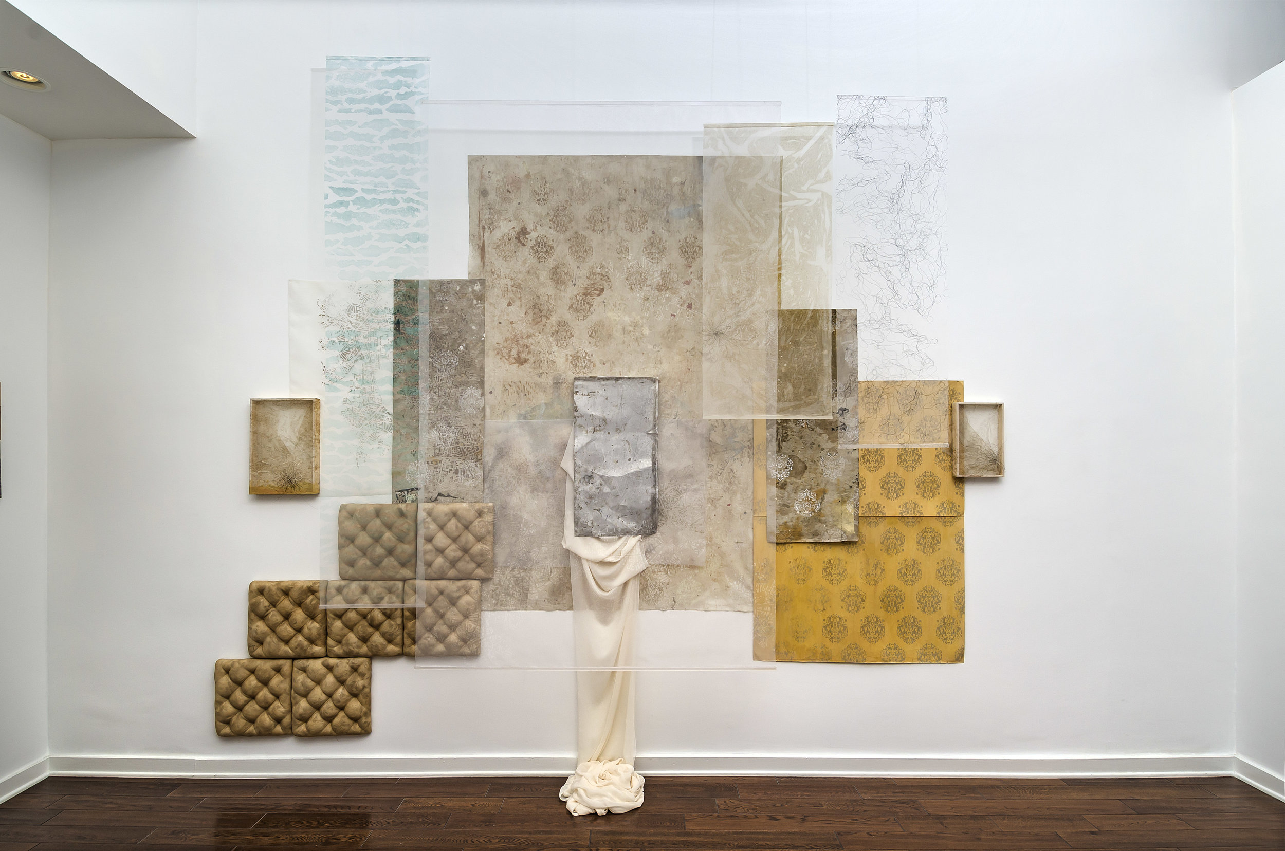 Victoria May   And the refinement of their decline , 2015 screen printed organza, found paper and drop cloth, stitched horse hair, ink-jet printed dropcloth, aluminum plate, silk chiffon, alpaca fur, horse hair, stained silk organza, beads, foam, wood 144 x 180 x 24 inches; 328.9 x 378.5 x 49.5 centimeters