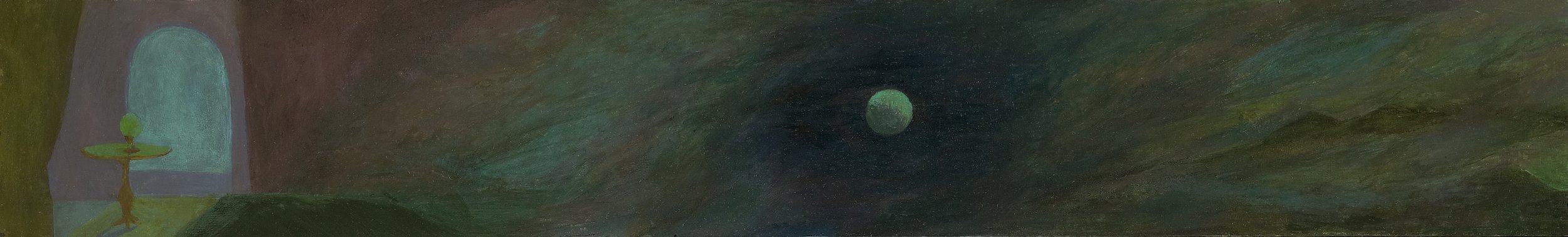 Helen Lundeberg (1908-1999)   Inner/Outer Space , circa 1943  oil on board 6 x 39 inches; 15.2 x 99.1 centimeters