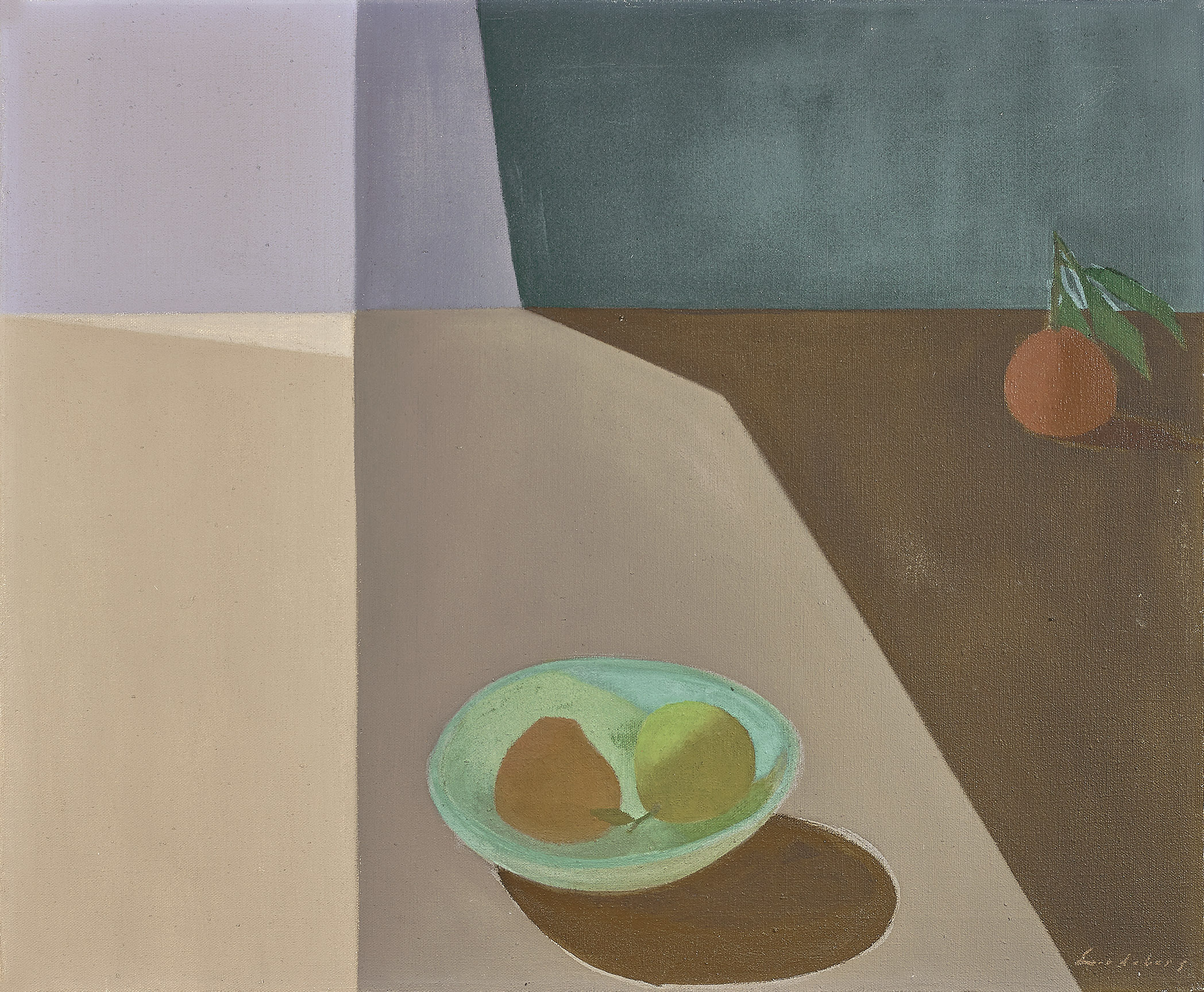 Helen Lundeberg (1908-1999)   Fruit in Space , 1953  oil on canvas 20 x 24 inches; 50.8 x 61 centimeters