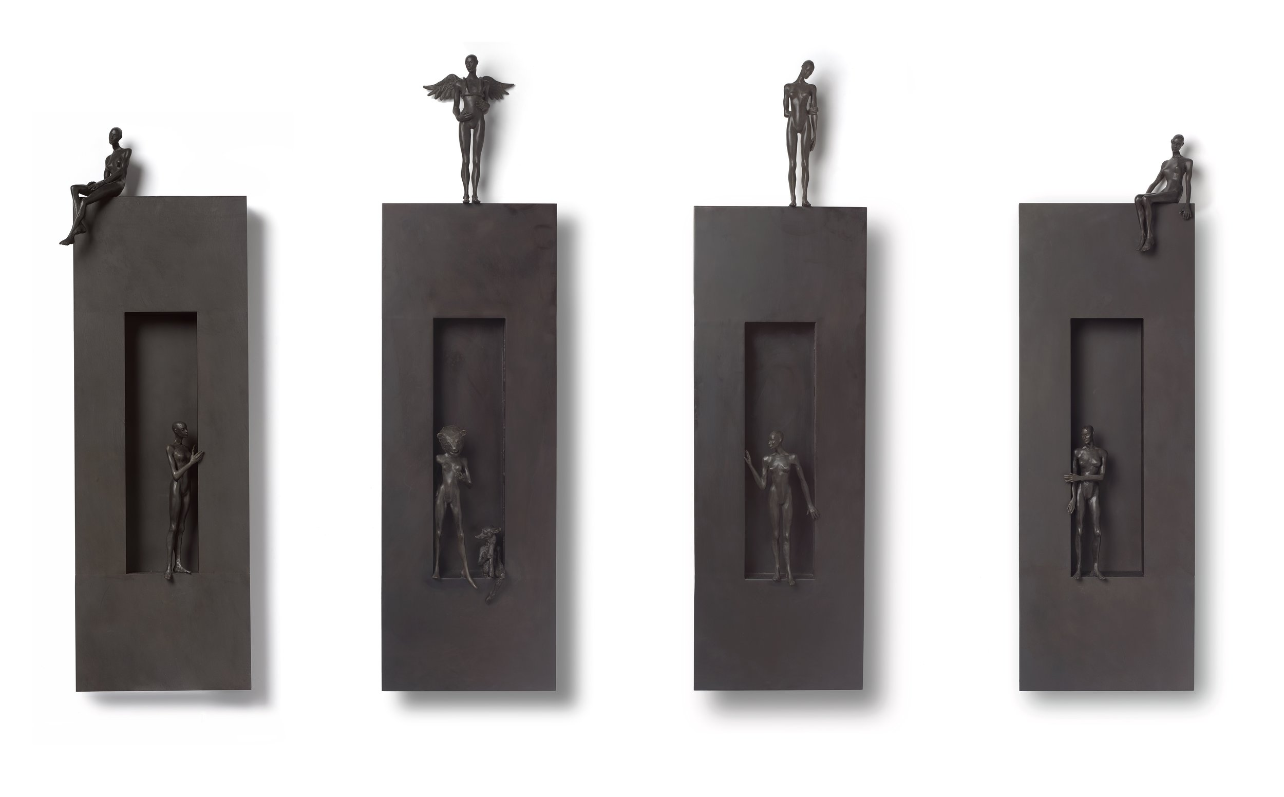 The Return ,  Foreign Language ,  The Visitor , and  At the Edge,  2019 bronze and wood 39 x 12 x 2 1/2 inches; 99.1 x 30.5 x 6.3 centimeters