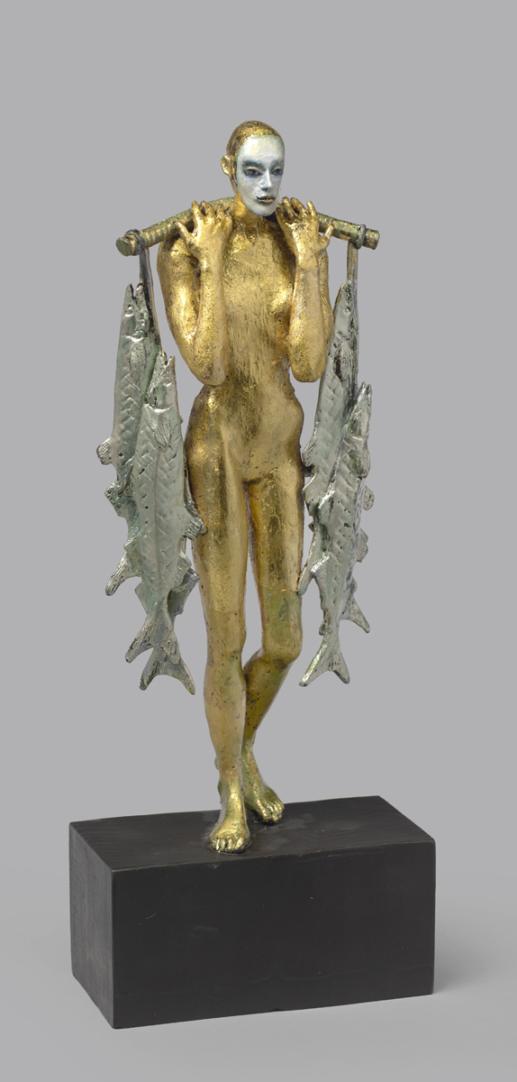 The Catch , 2019 gold leaf on bronze 18 x 7 x 3 1/2 inches; 45.7 x 17.8 x 8.9 centimeters