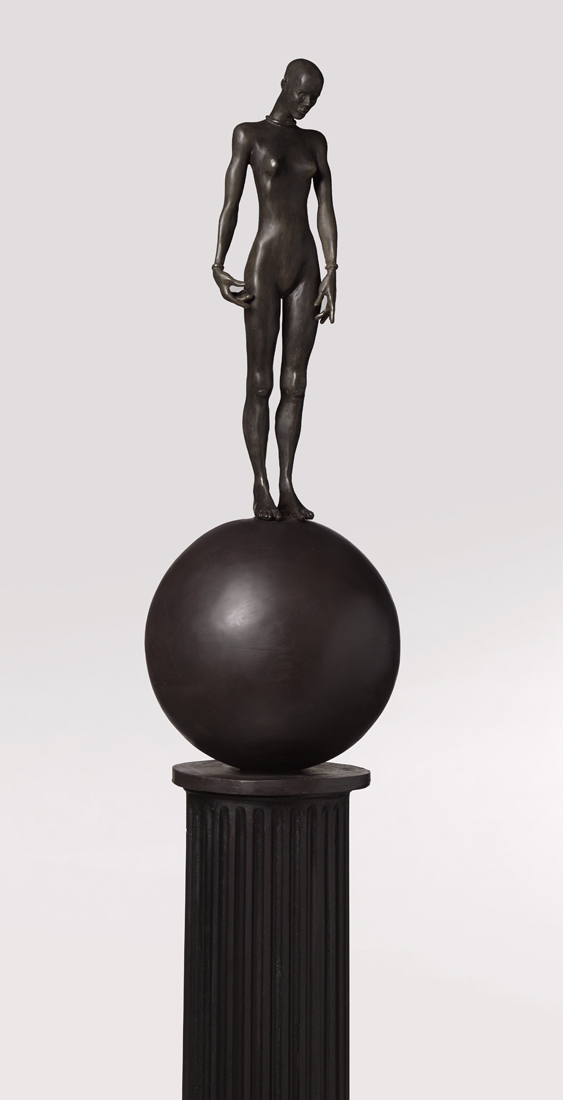 Figure on a Ball (detail) , 2019 bronze with wood and bronze column 83 x 10 1/2 x 10 1/2 inches; 210.8 x 26.7 x 26.7 centimeters
