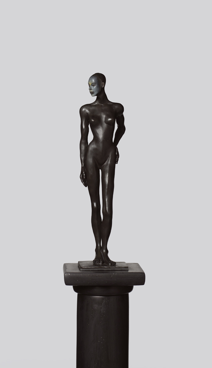 Figure on a Pedestal (detail) , 2019 bronze 80 x 10 x 10 inches; 203.2 x 25.4 x 25.4 centimeters