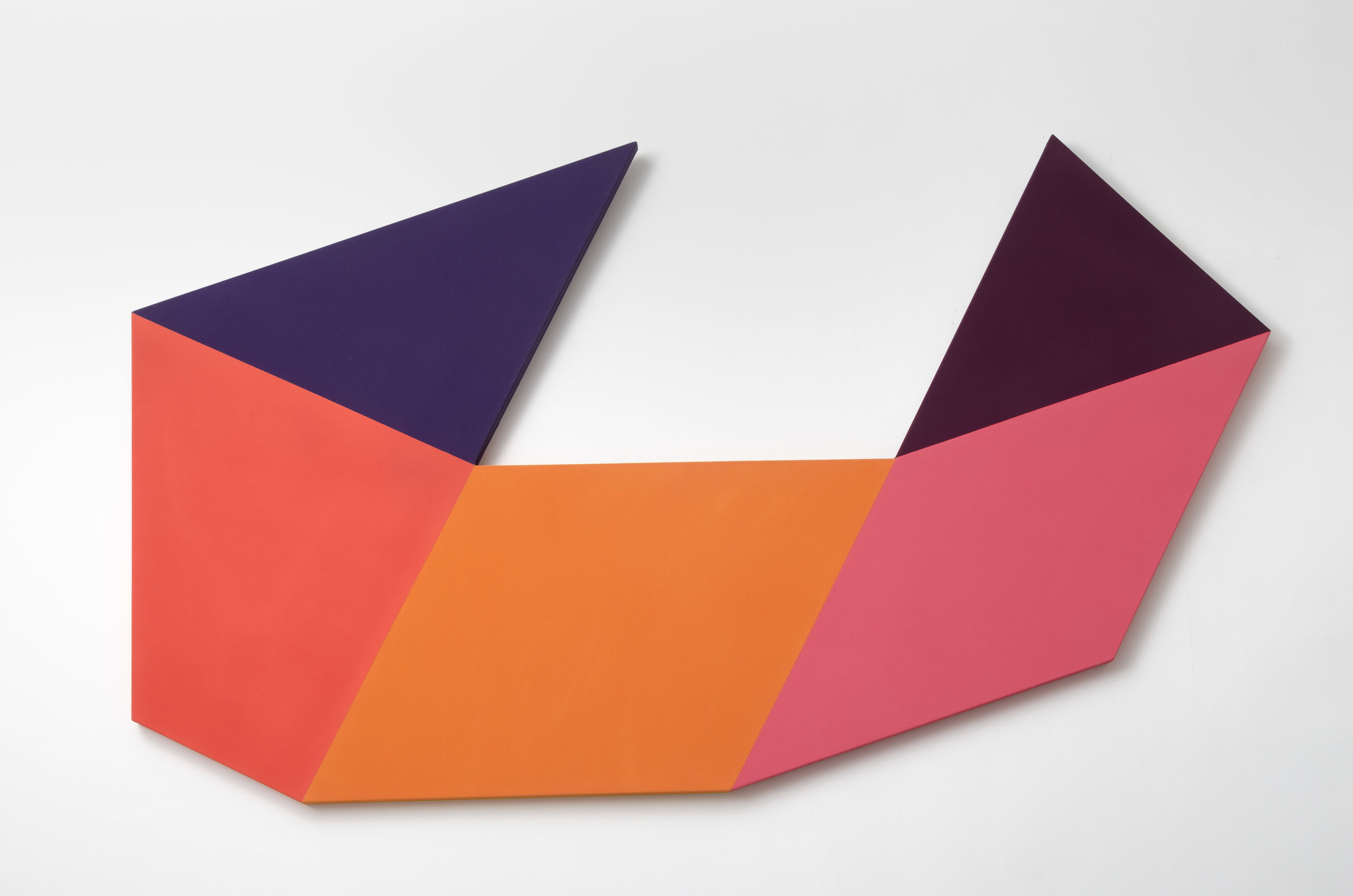 Mokha Laget, b. 1959   Bow , 2017  acrylic and clay pigment on shaped canvas  51 x 86 inches; (129.5 x 218.4 cm)
