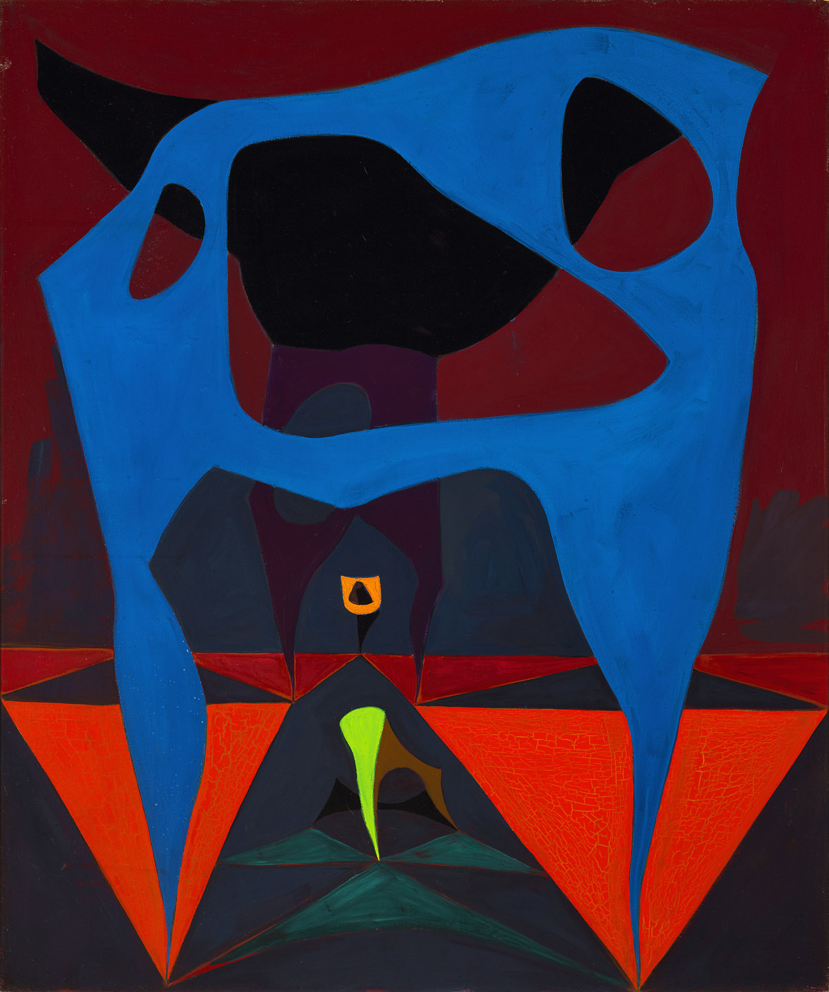 Lorser Feitelson (1898-1978)   Untitled, Magical Forms (study) , 1950 oil on canvas  36 x 30 inches; 91.4 x 76.2 centimeters