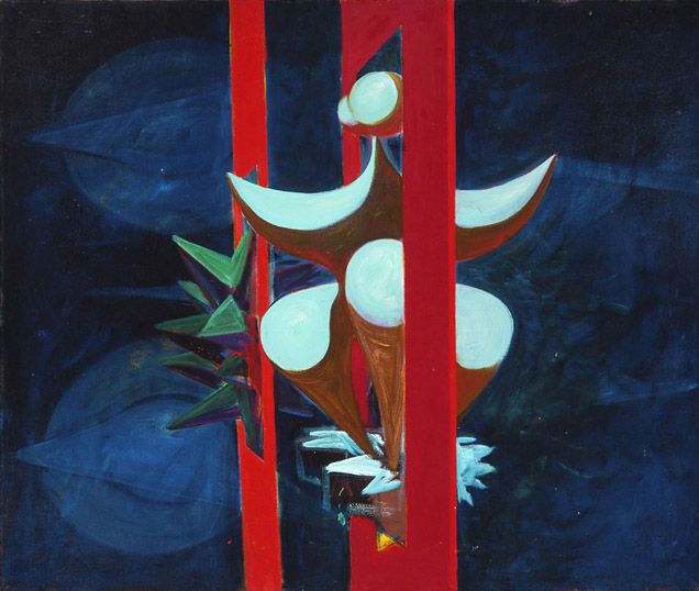 Lorser Feitelson (1898-1978)   Untitled, Magical Forms , 1949 oil on canvas  30 x 36 inches; 76.2 x 91.4 centimeters