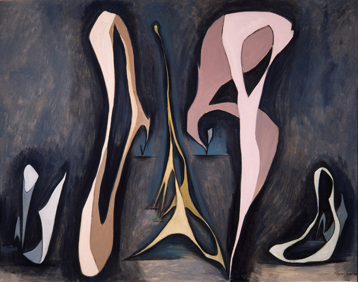 Lorser Feitelson (1898-1978)    Mirabilia, Magical Forms , 1945   oil on canvas  35 x 45 inches; 88.9 x 114.3 centimeters