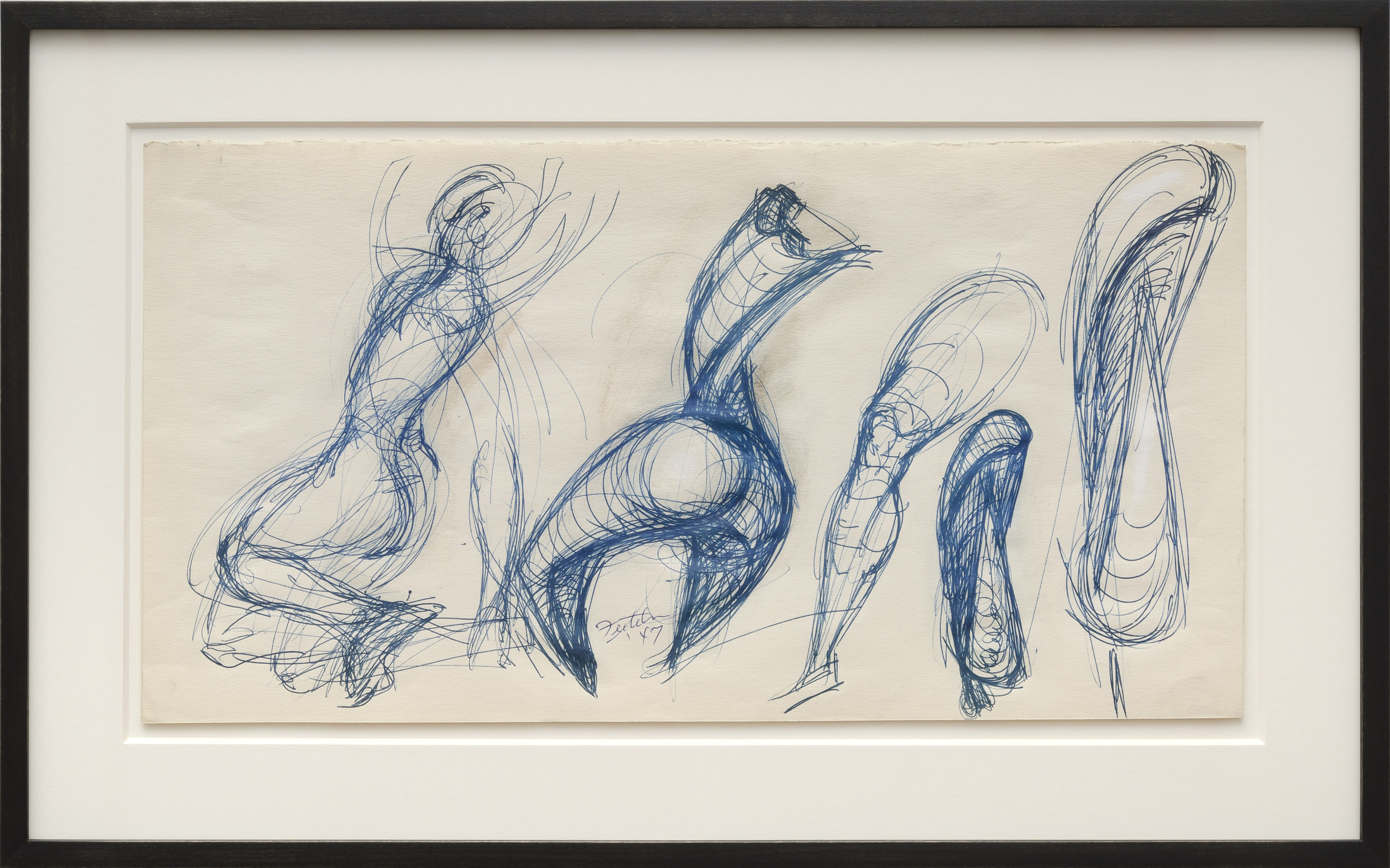 Lorser Feitelson (1898-1978)    Untitled , 1947   Ball point on paper  10 1/2 x 19 7/8 inches