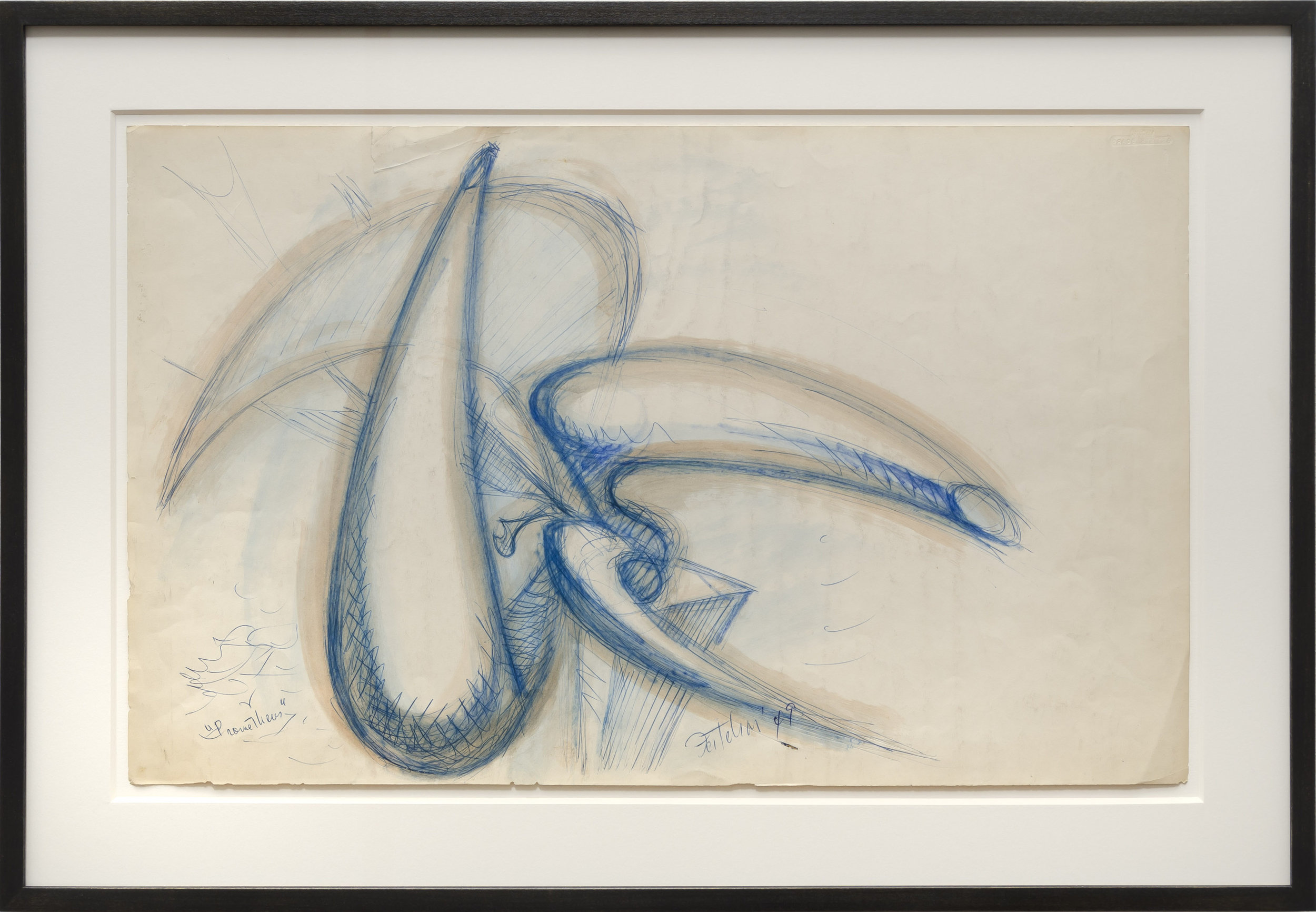 Lorser Feitelson (1898-1978)    Study for Prometheus , 1949   Ball point and water color on paper  13 1/2 x 22 inches; 35.4 x 55.9 centimeters