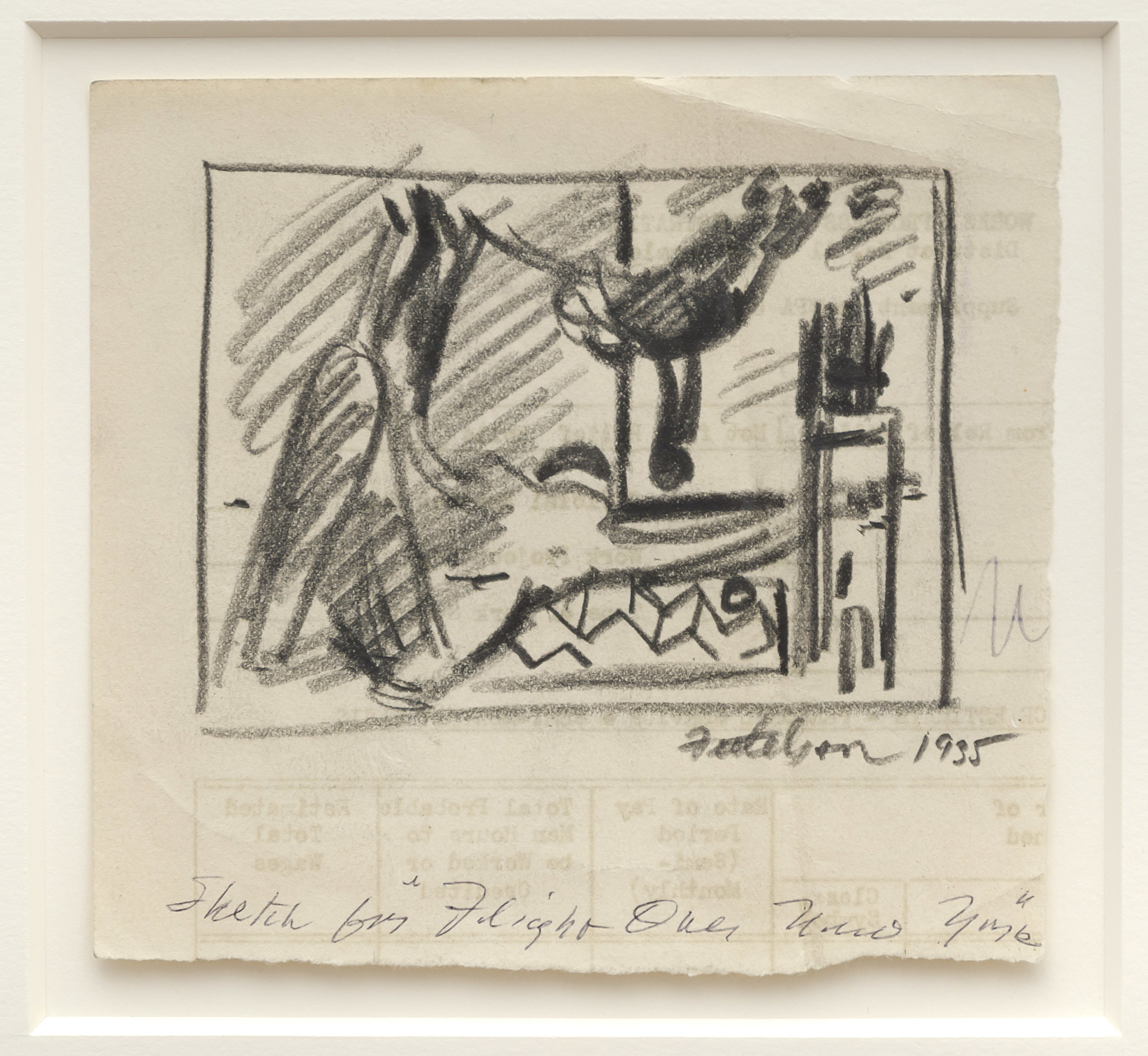 Lorser Feitelson (1898-1978)   Study for Flight Over New York , 1935 graphite on paper  5 1/4 x 5 3/4 inches; 13.3 x 14.6 centimeters