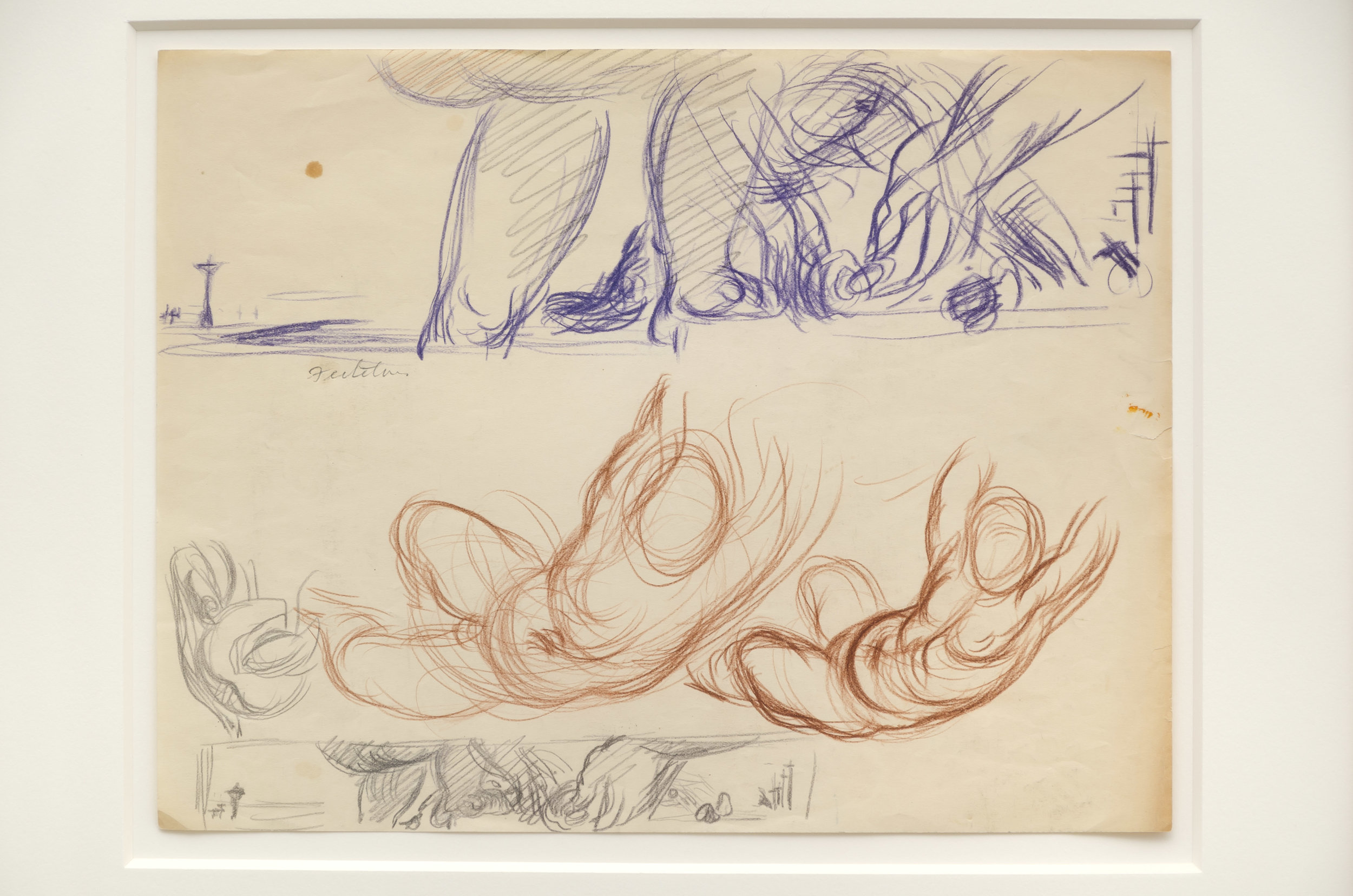 Lorser Feitelson (1898-1978)   Study for Flight Over New York , c. 1935 colored pencil and graphite on paper  8 1/2 x 11 inches; 21.6 x 27.9 centimeters