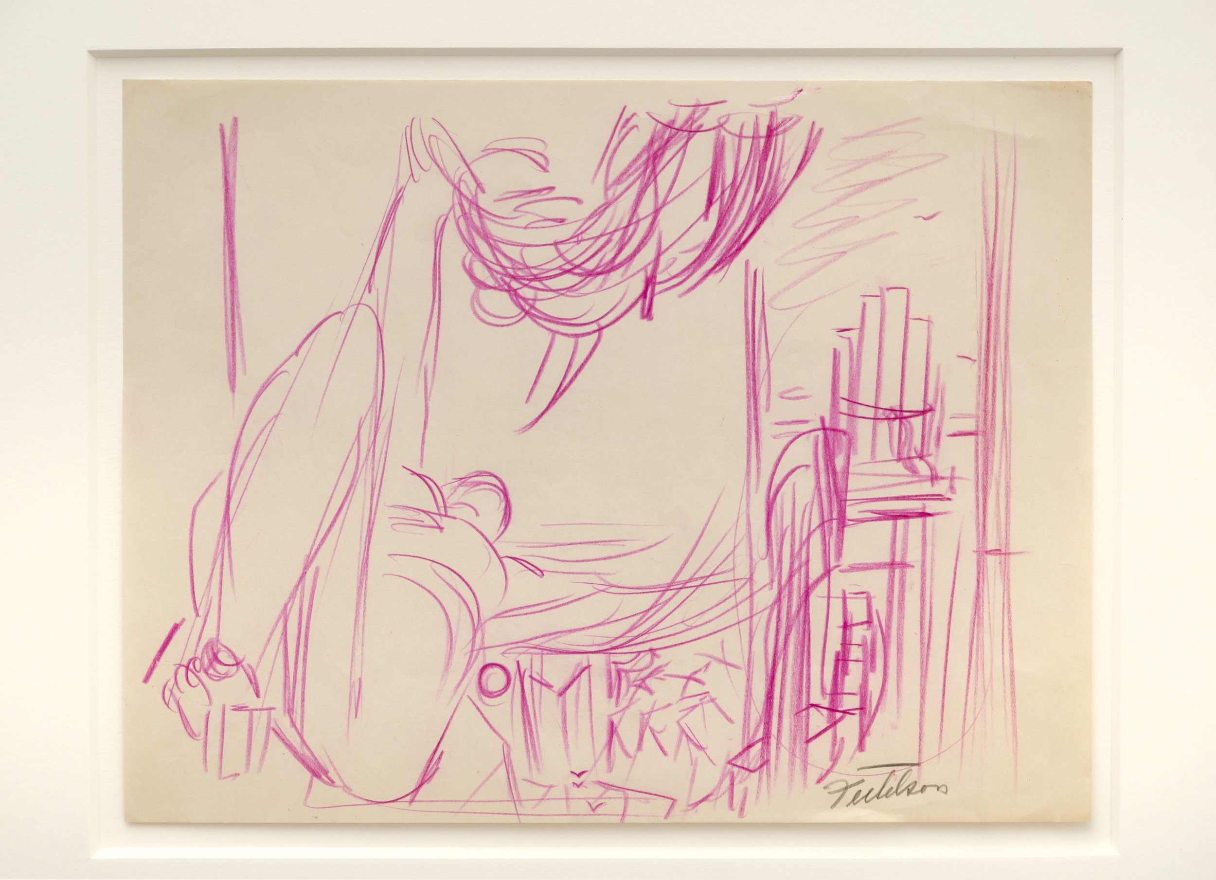 Lorser Feitelson (1898-1978)   Study for Flight Over New York , c. 1935 colored pencil on paper  10 3/4 x 11 inches; 27.3 x 27.9 centimeters