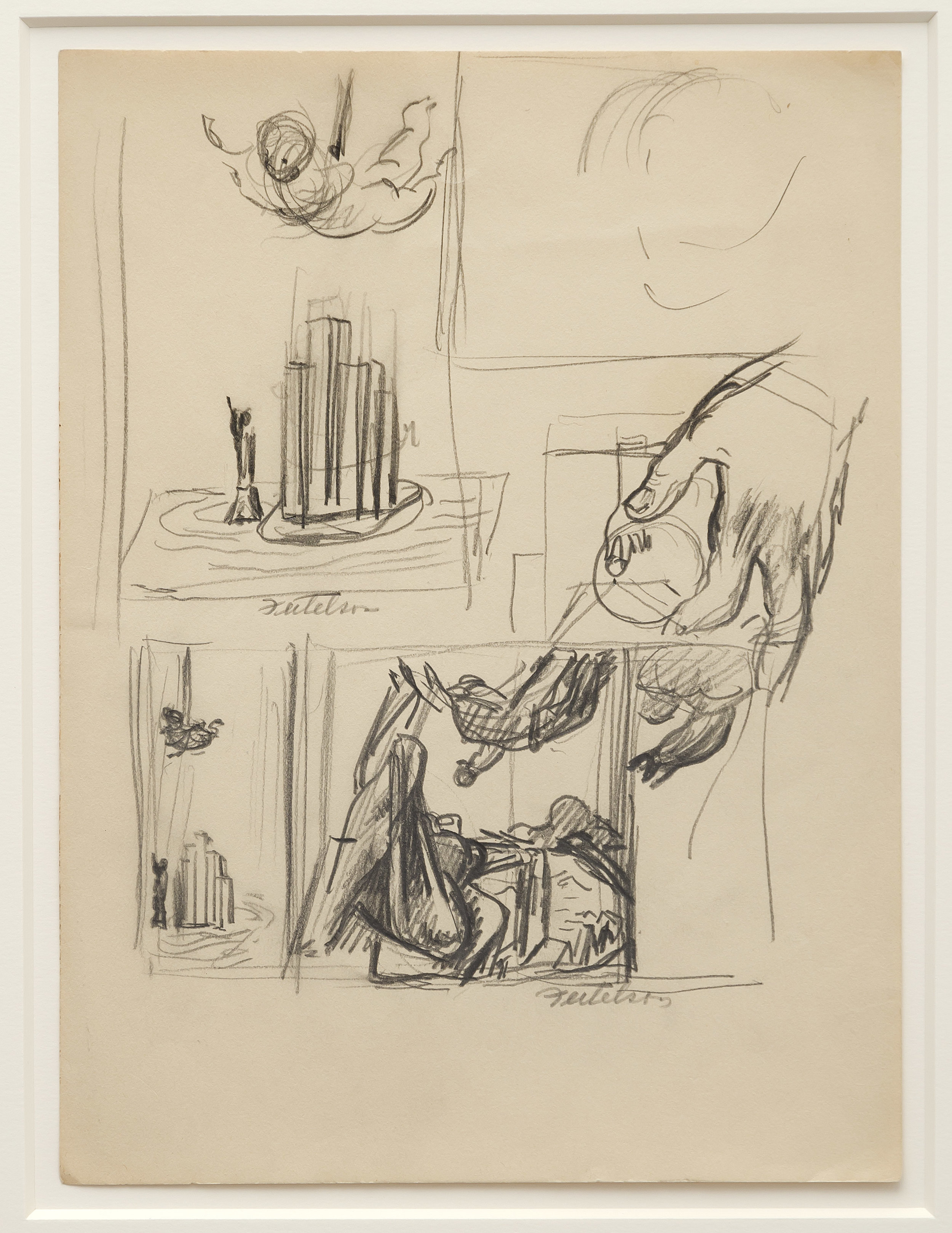 Lorser Feitelson (1898-1978)   Study for Flight Over New York , c. 1935 graphite on paper  12 x 9 inches; 30.5 x 22.9 centimeters