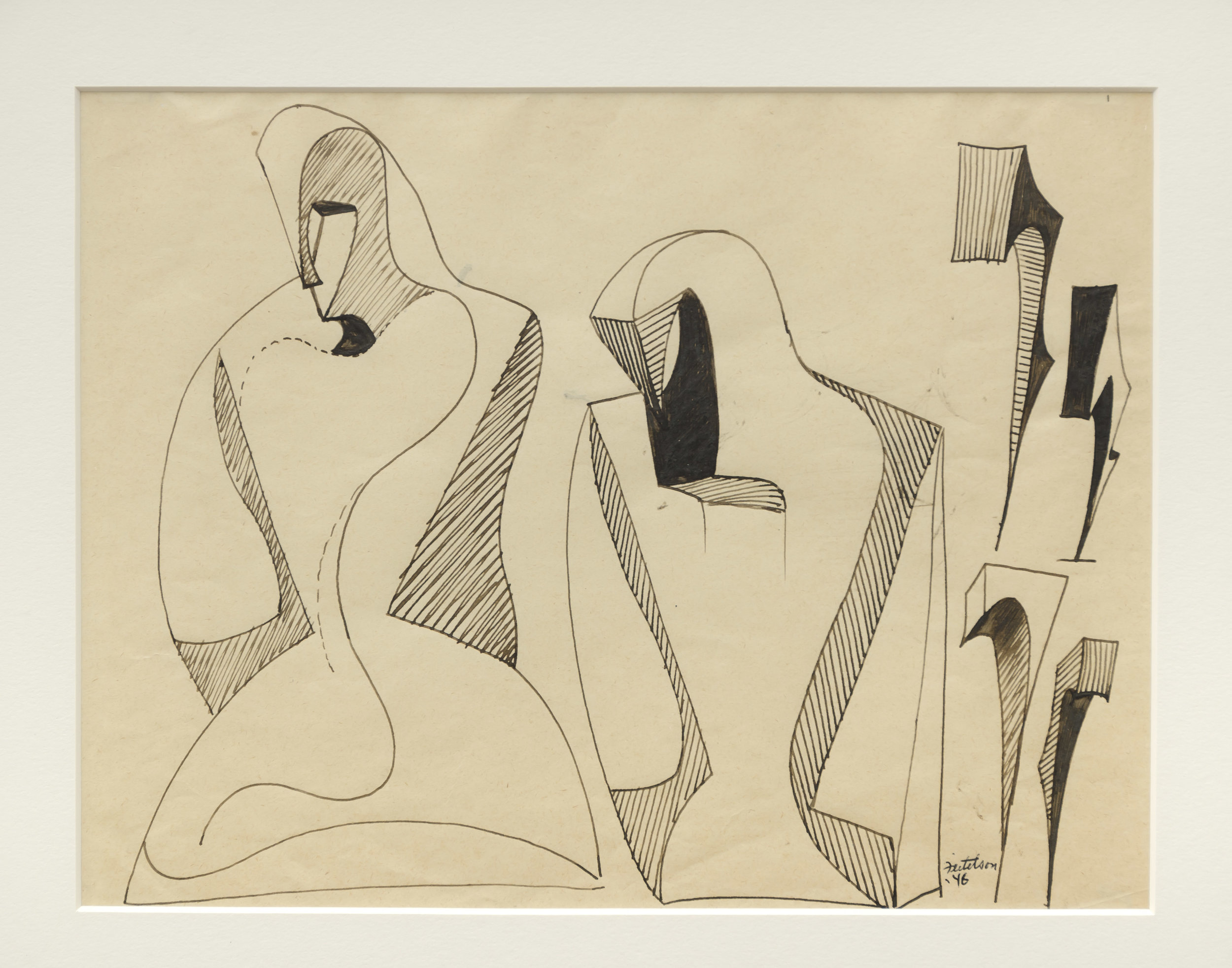 Lorser Feitelson (1898-1978)   Figure Evolving Into Magical Forms , 1946 ink on paper  8 1/2 x 11 inches; 21.6 x 27.9 centimeters