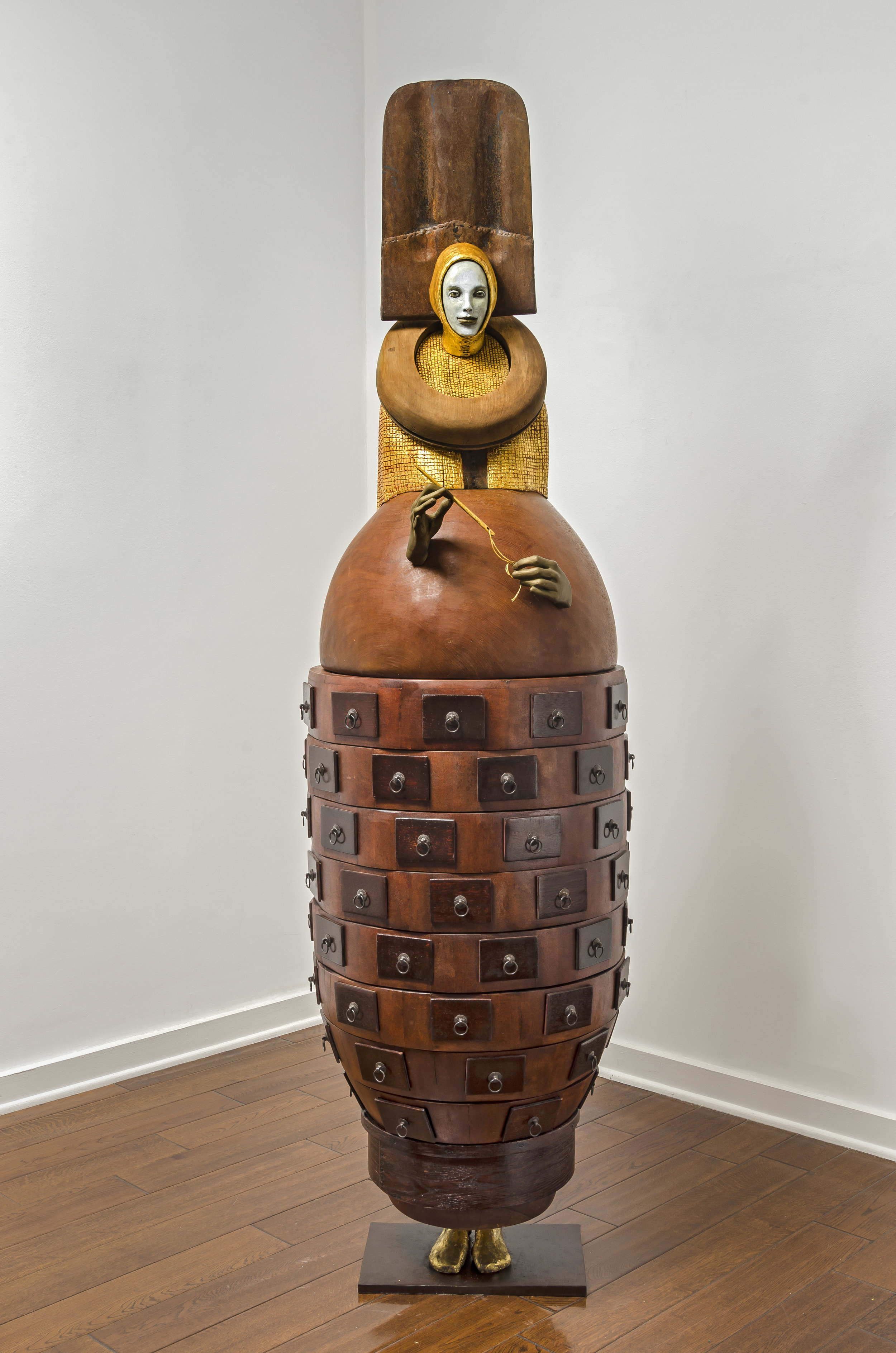 The Embroidery Lesson , 2007/2019 wood and bronze 80 x 20 x 22 inches; 203.2 x 50.8 x 55.9 centimeters