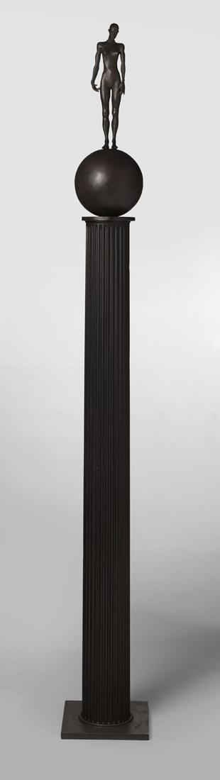 Figure on a Ball , 2019 bronze with wood and bronze column 83 x 10 1/2 x 10 1/2 inches; 210.8 x 26.7 x 26.7 centimeters