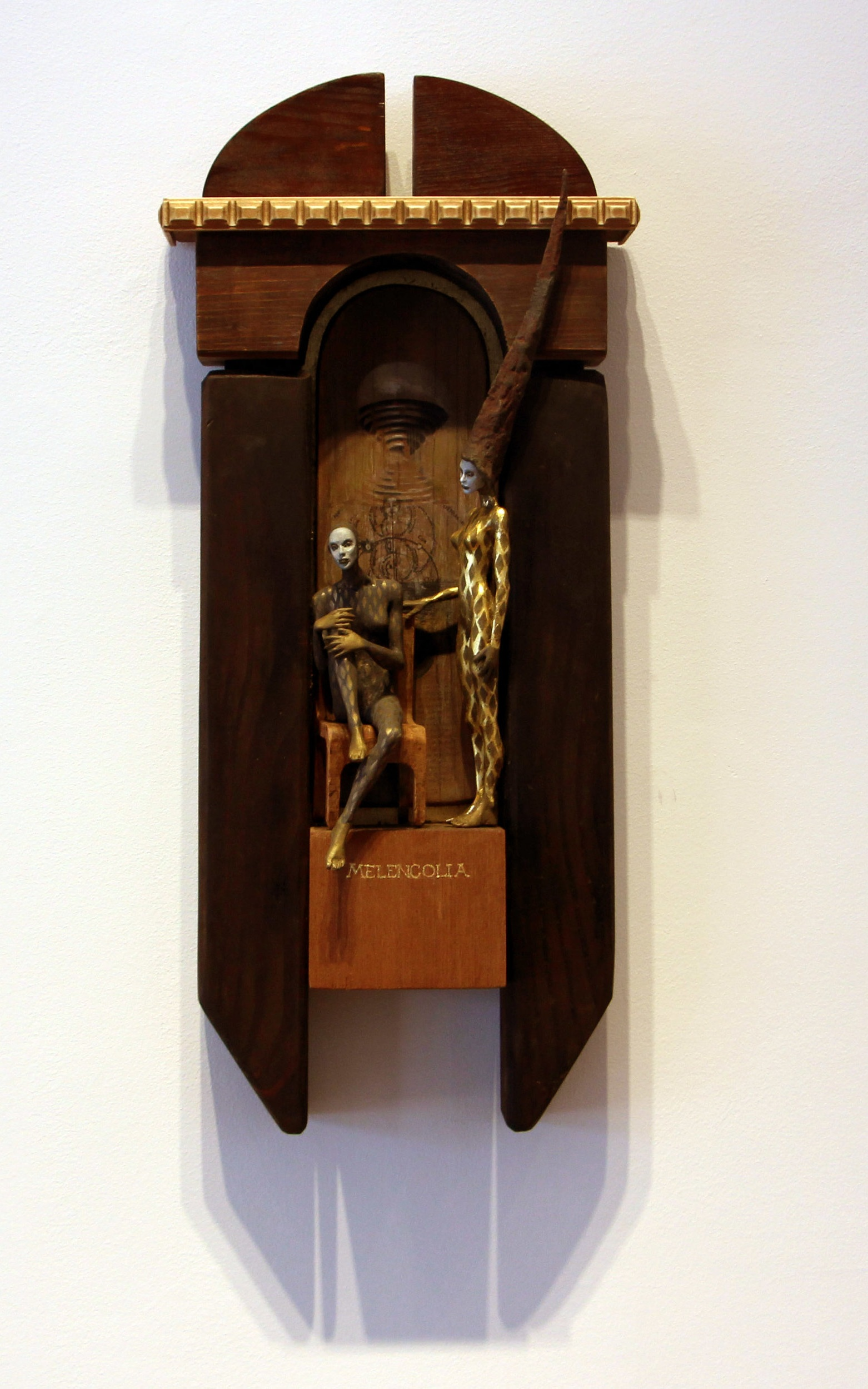 Melancholy   2015  bronze and wood  28 x 11 x 4.5 inches; 71.1 x 27.9 x 11.4 centimeters