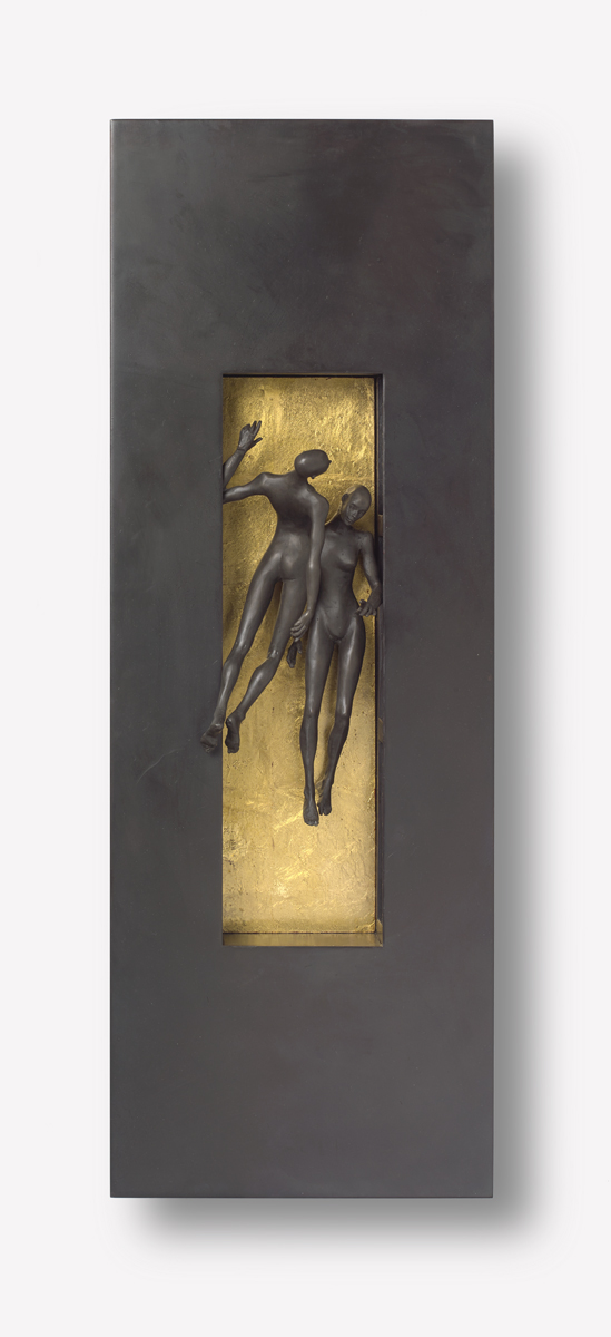 Weightless , 2019  wood and gold leaf on bronze  34 x 12 x 3 inches; 86.4 x 30.5 x 7.6 centimeters   SOLD