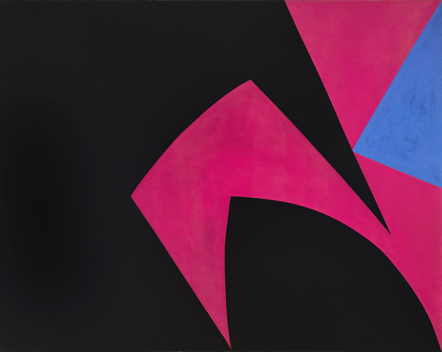 Lorser Feitelson (1898 - 1978)   Magical Space Forms (Black, Fuchsia),  1951 oil on canvas 46 x 58 inches; 116.8 x 147.3 centimeters