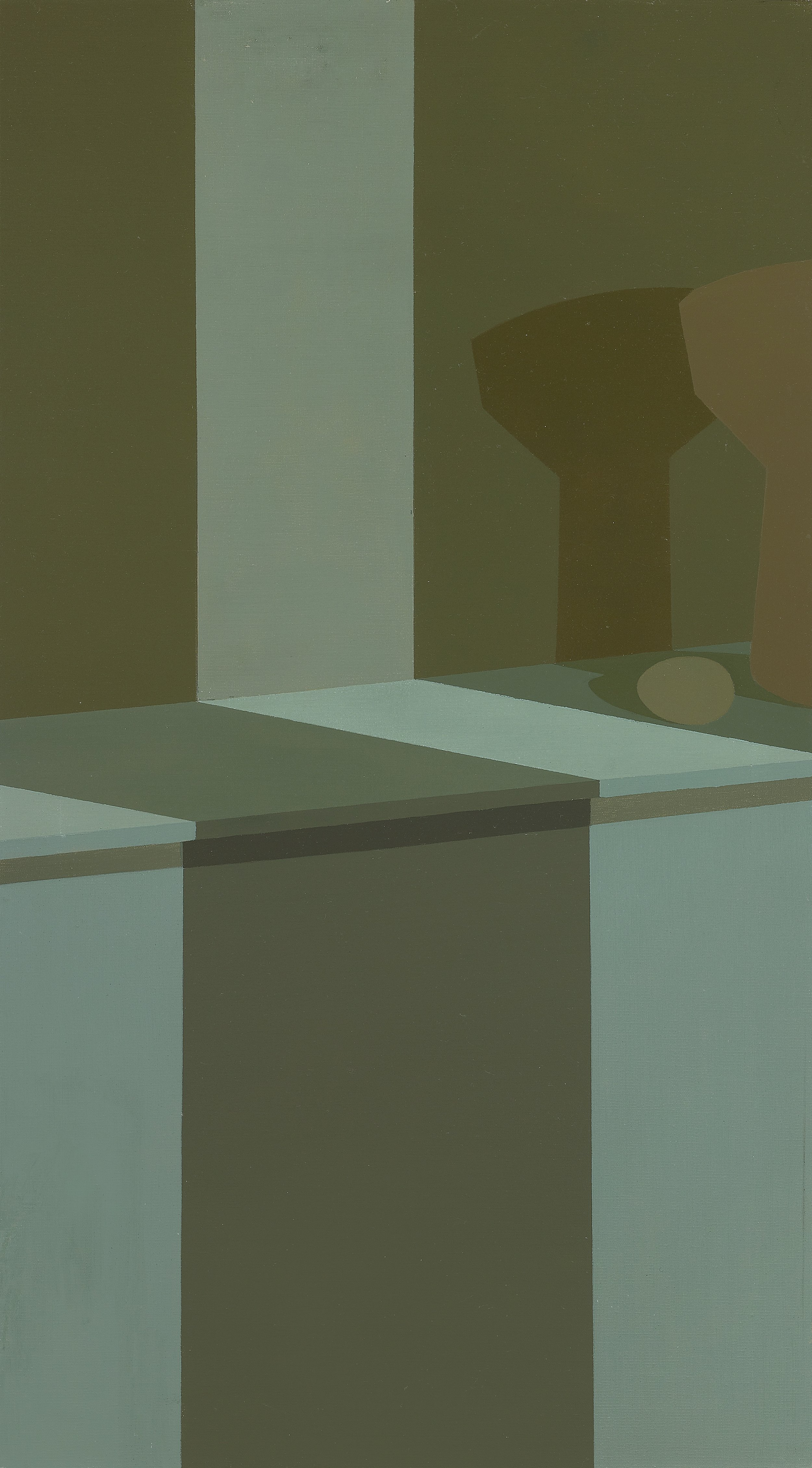 Untitled (Still Life with Shadow) , 1961  oil on canvas 36 x 20 inches; 91.4 x 50.8 centimeters  $45,000