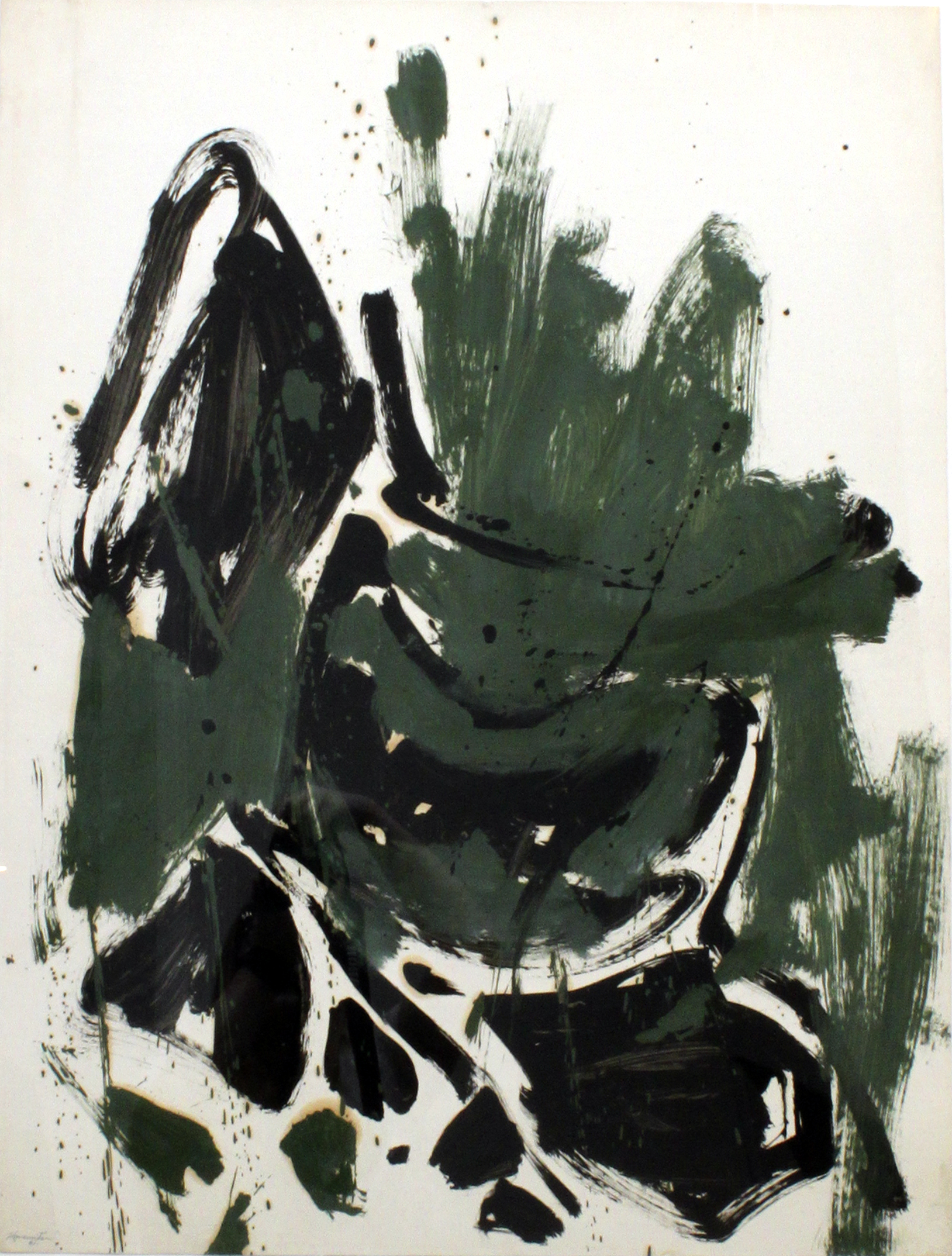 Abstraction (Green, Black, Brown) , 1961  oil on paper 28 1/4 x 22 1/2 inches; 71.8 x 57.1 centimeters  $12,000