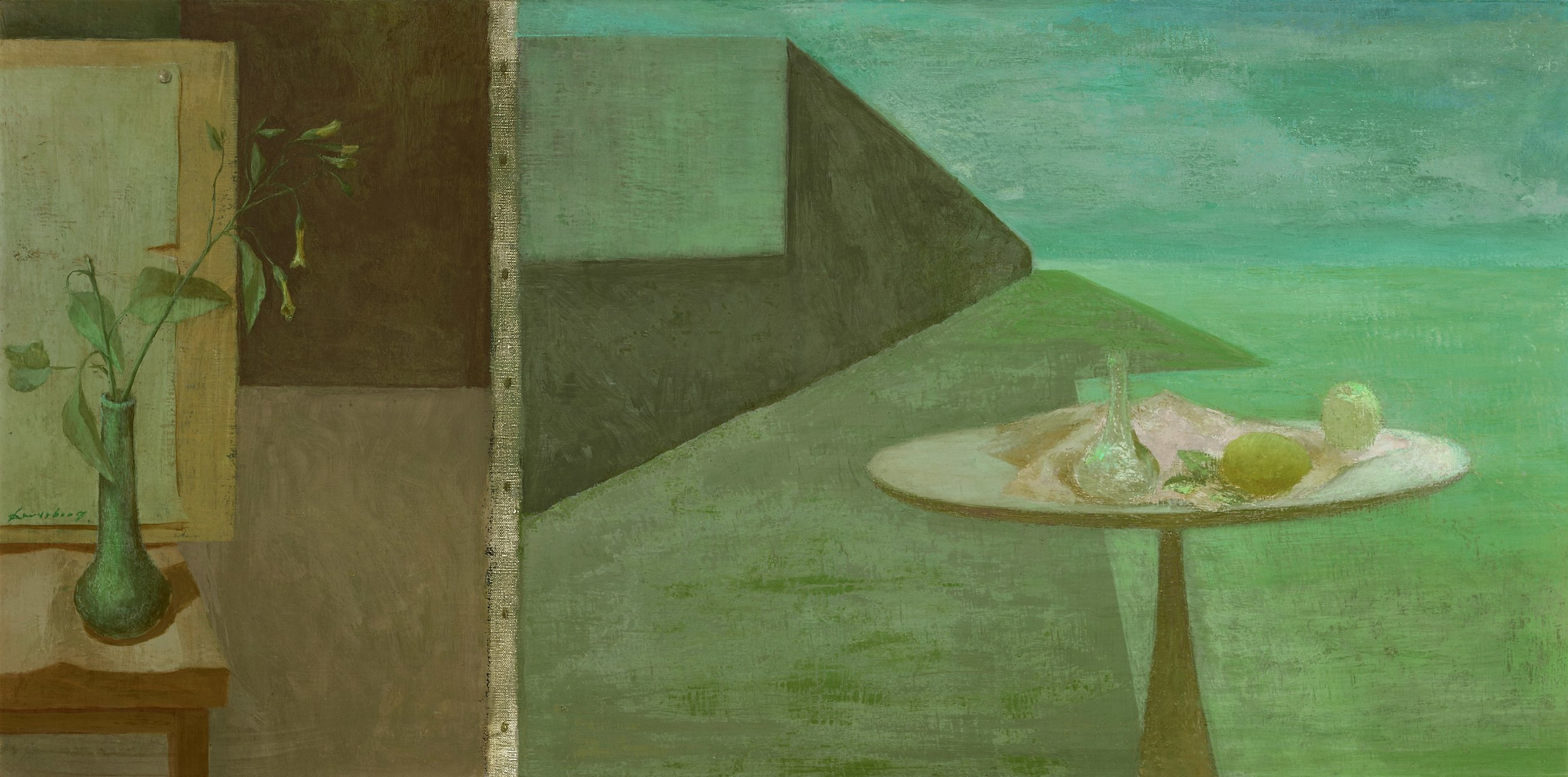Helen Lundeberg (1908-1999)   Enigma of Reality , 1955  oil on canvas 20 x 40 inches; 50.8 x 101.6 centimeters