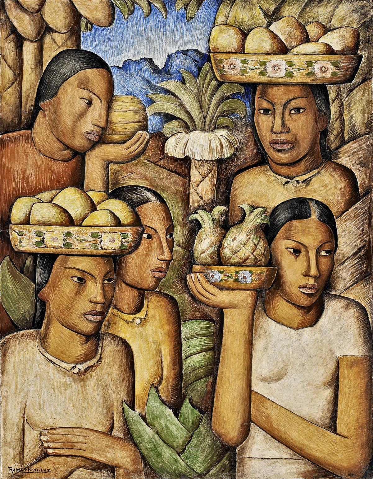 Alfredo Ramos Martinez (1871 - 1946)   Vendedoras de Frutas , c. 1937 fresco 31 x 24 inches; 78.7 x 61 centimeters
