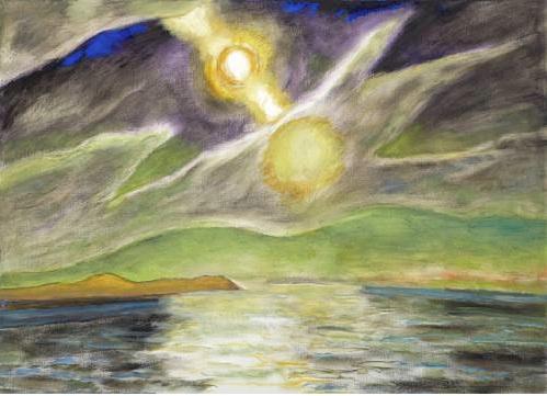 Fredrick Wight (1902-1986)   Dawn II , 1983 oil on canvas 48 x 66 inches; 121.9 x 167.6 centimeters