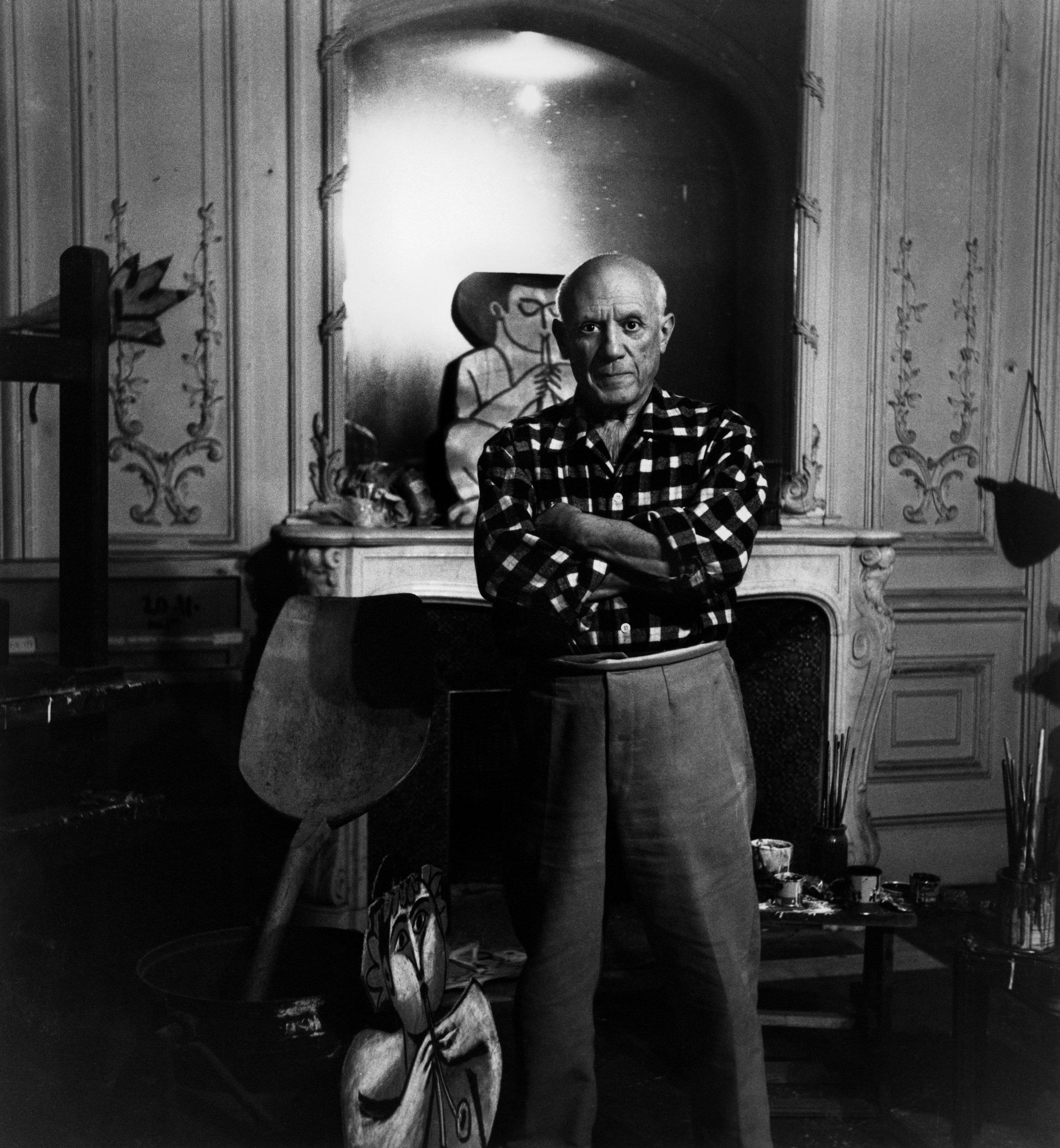 """Lucien Cleurge (1934 - 2014)    Picasso au miroir """"La Californie,"""" Cannes , 1955  vintage silver gelatin print  9 1/4 x 6 7/8 inches; 23.5 x 17.5"""