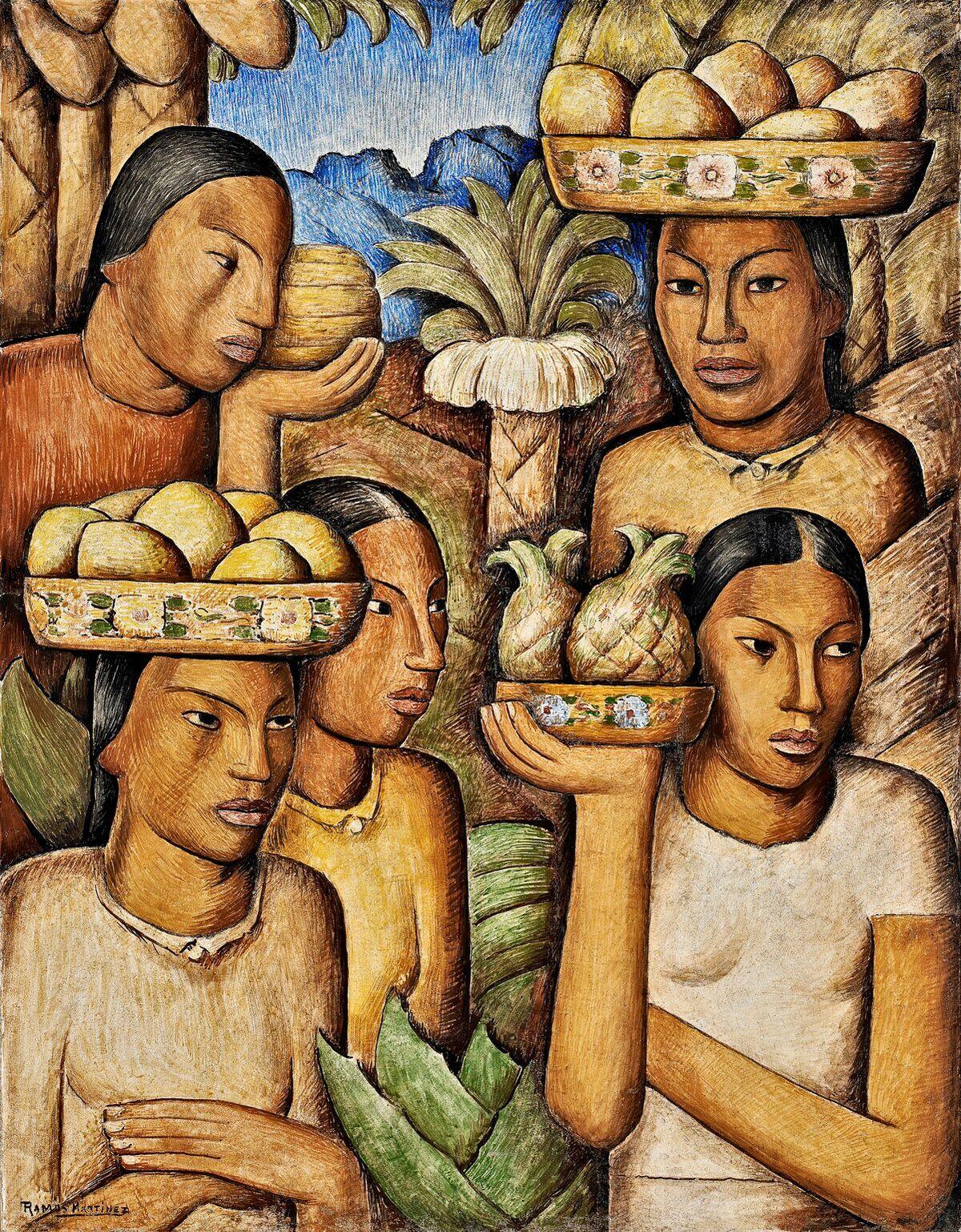 Alfredo Ramos Martinez (1871-1946)   Vendedoras de Frutas , c. 1937  fresco 31 x 24 inches; 78.7 x 61 centimeters