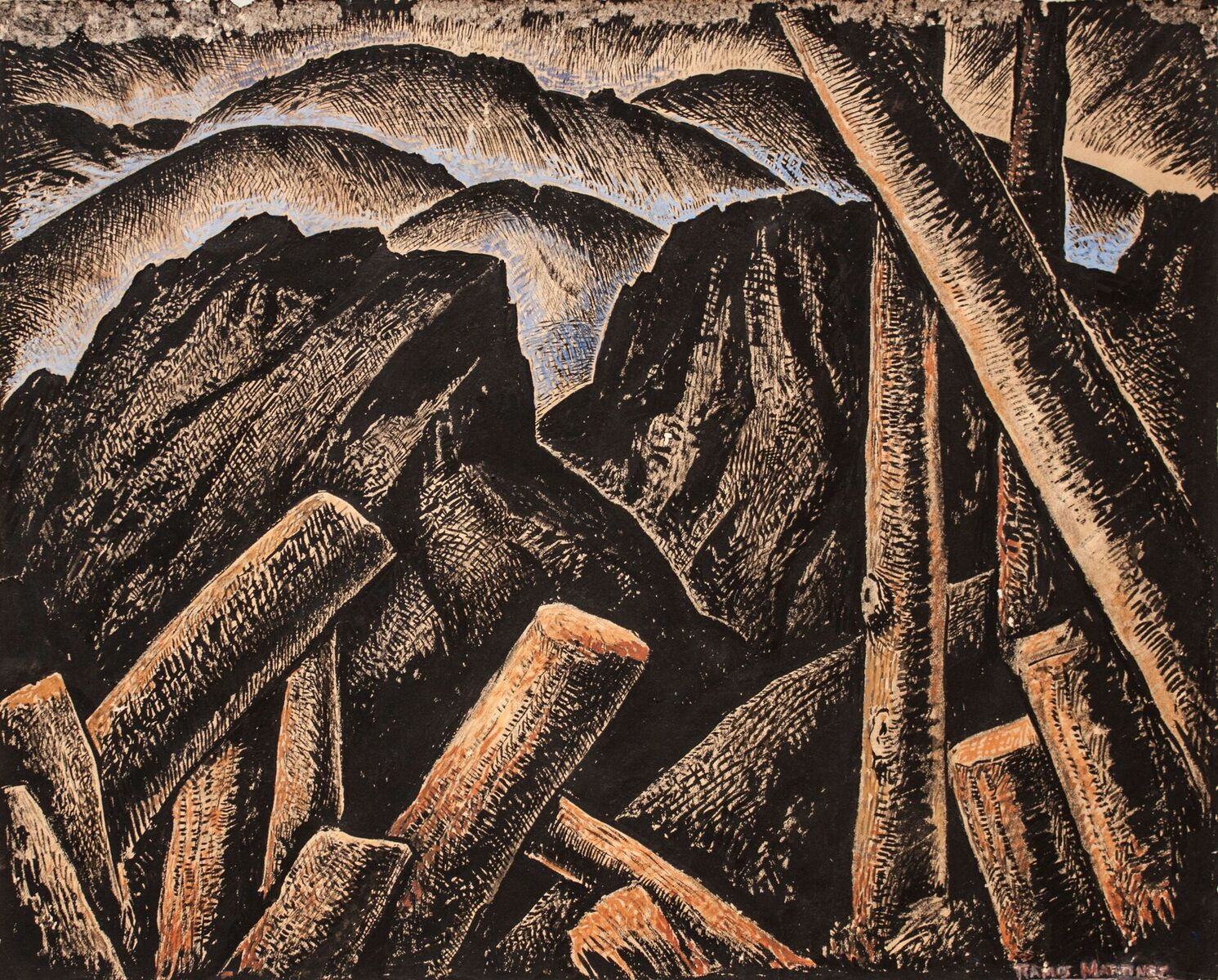 Alfredo Ramos Martinez (1871-1946)   After the Storm , c. 1934  tempera on paper 11 1/2 x 14 5/8 inches; 29.2 x 37.1 centimeters