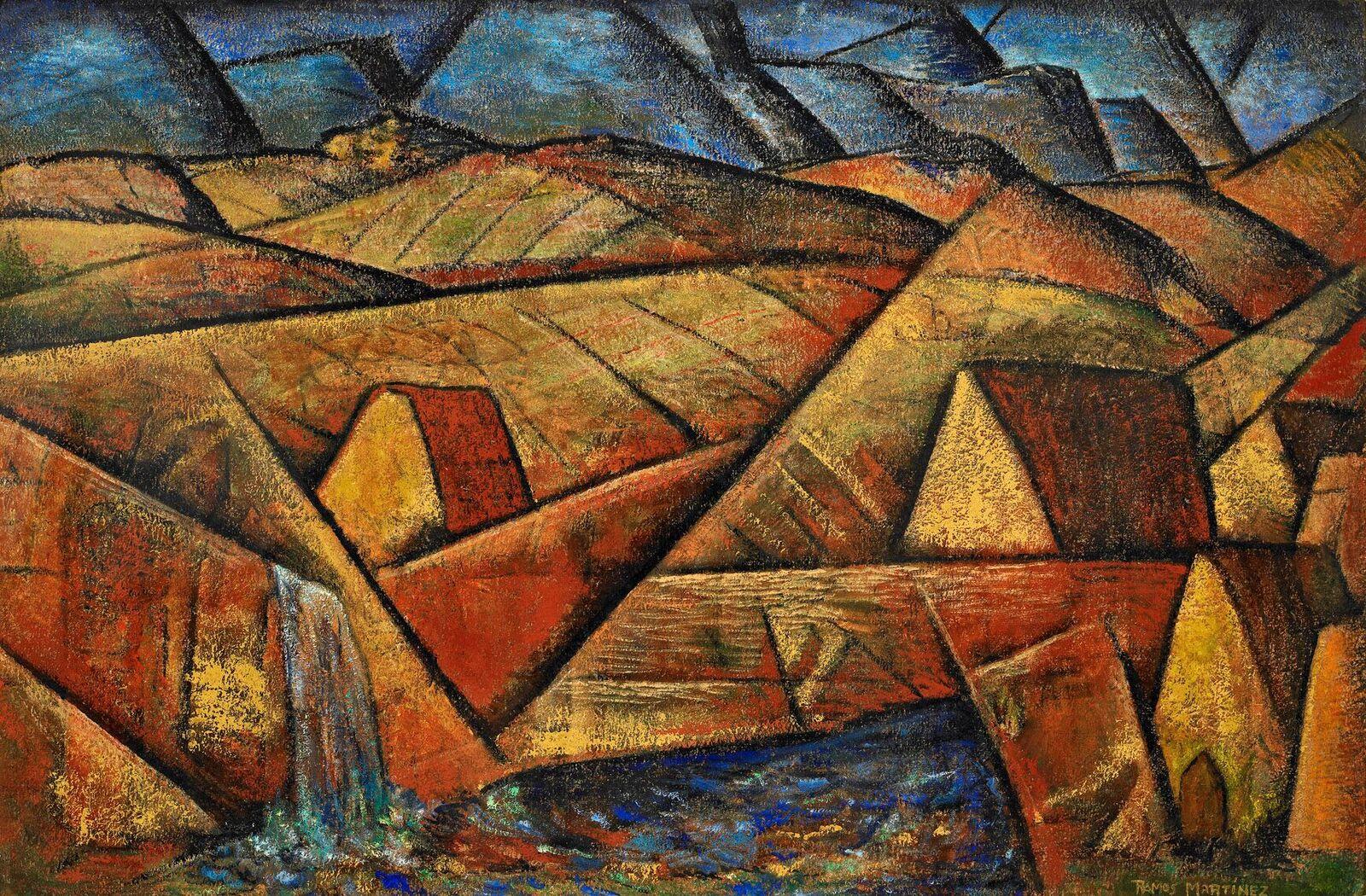 Alfredo Ramos Martinez (1871-1946)   Lomas y Montanas , 1940  oil on board 23 3/4 x 35 7/8 inches; 60 x 91 centimeters