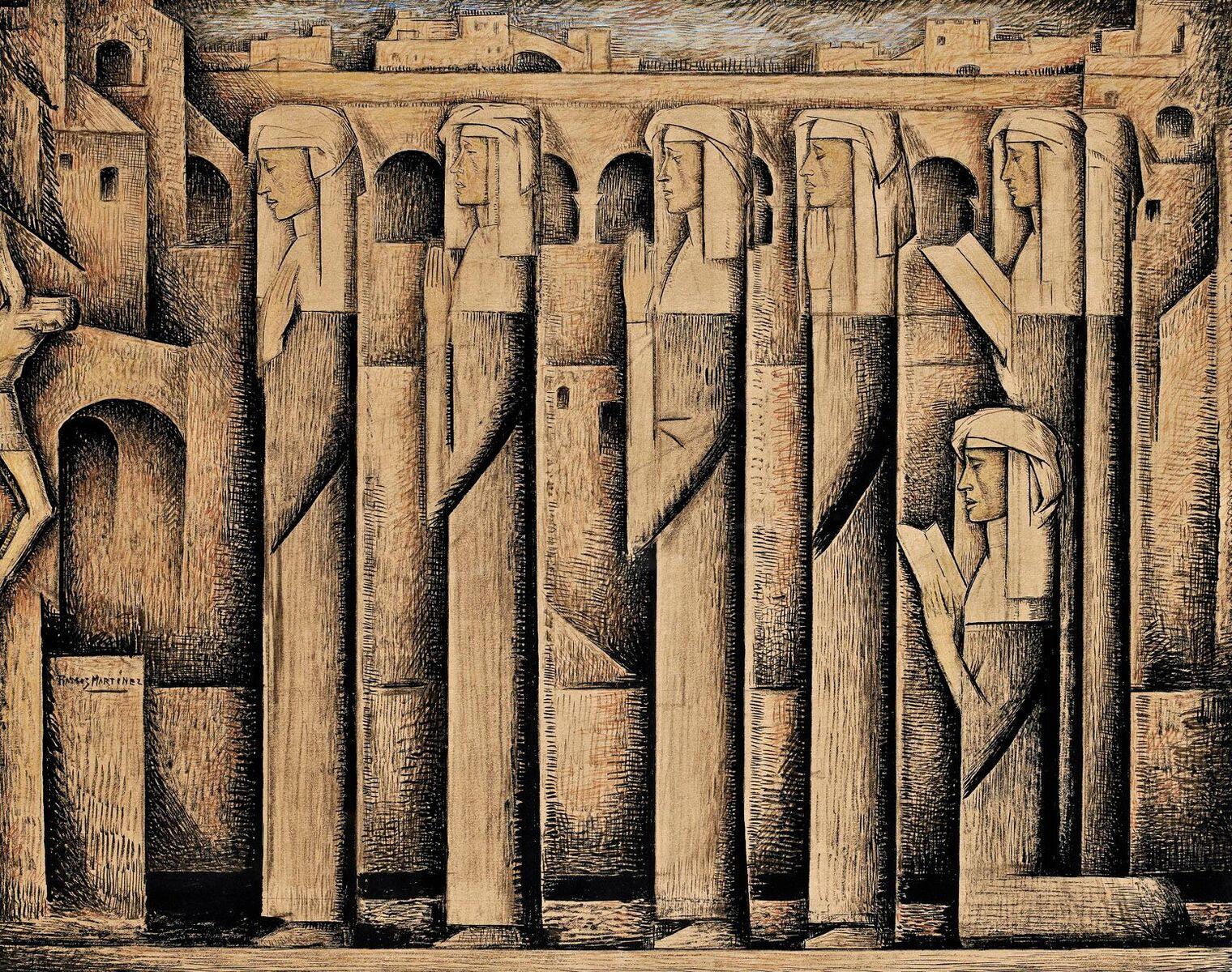 Alfredo Ramos Martinez (1871-1946)   Procession of Nuns , c. 1935  tempera 16 x 20 inches; 40.6 x 50.8 centimeters