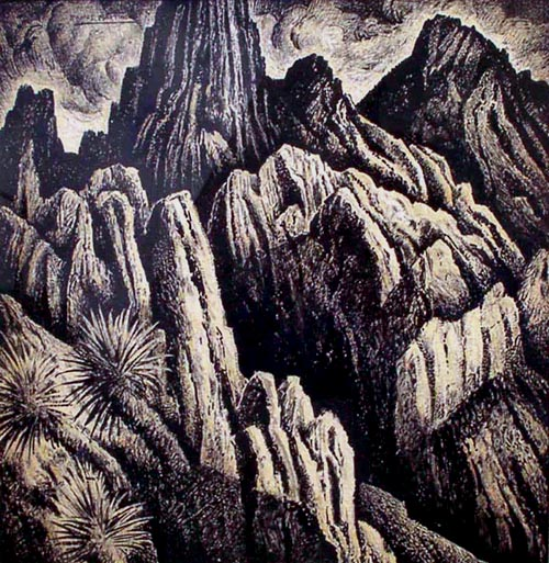 Alfredo Ramos Martinez (1871-1946)   Cordillera Mexicana , 1934  tempera on paper 18 x 17 1/2 inches; 45.7 x 44.5 centimeters