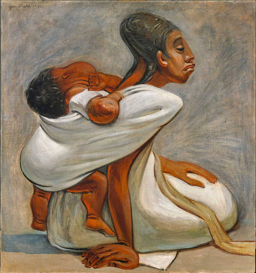 Jean Charlot (1898-1979)   Mother and Child , 1930  oil on canvas 29 1/2 x 27 1/2 inches; 74.9 x 69.9 centimeters
