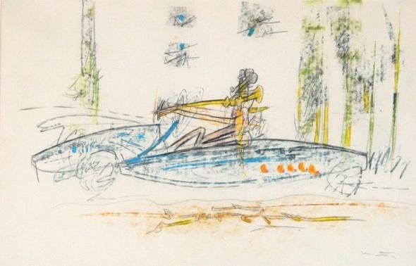 Roberto Matta (1911-2002)   Untitled , c. 1970  oil pastel and graphite on paper 12 3/4 x 19 1/2 inches; 32.4 x 49.5 centimeters