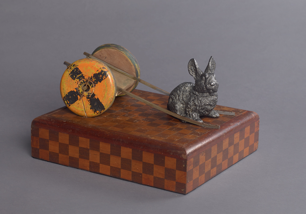 Cecilia Z. Miguez (b. 1955)   Rabbit , 2015  bronze, wood and mixed media 7 x 12 x 10 1/2 inches; 17.8 x 30.5 x 26.7 centimeters